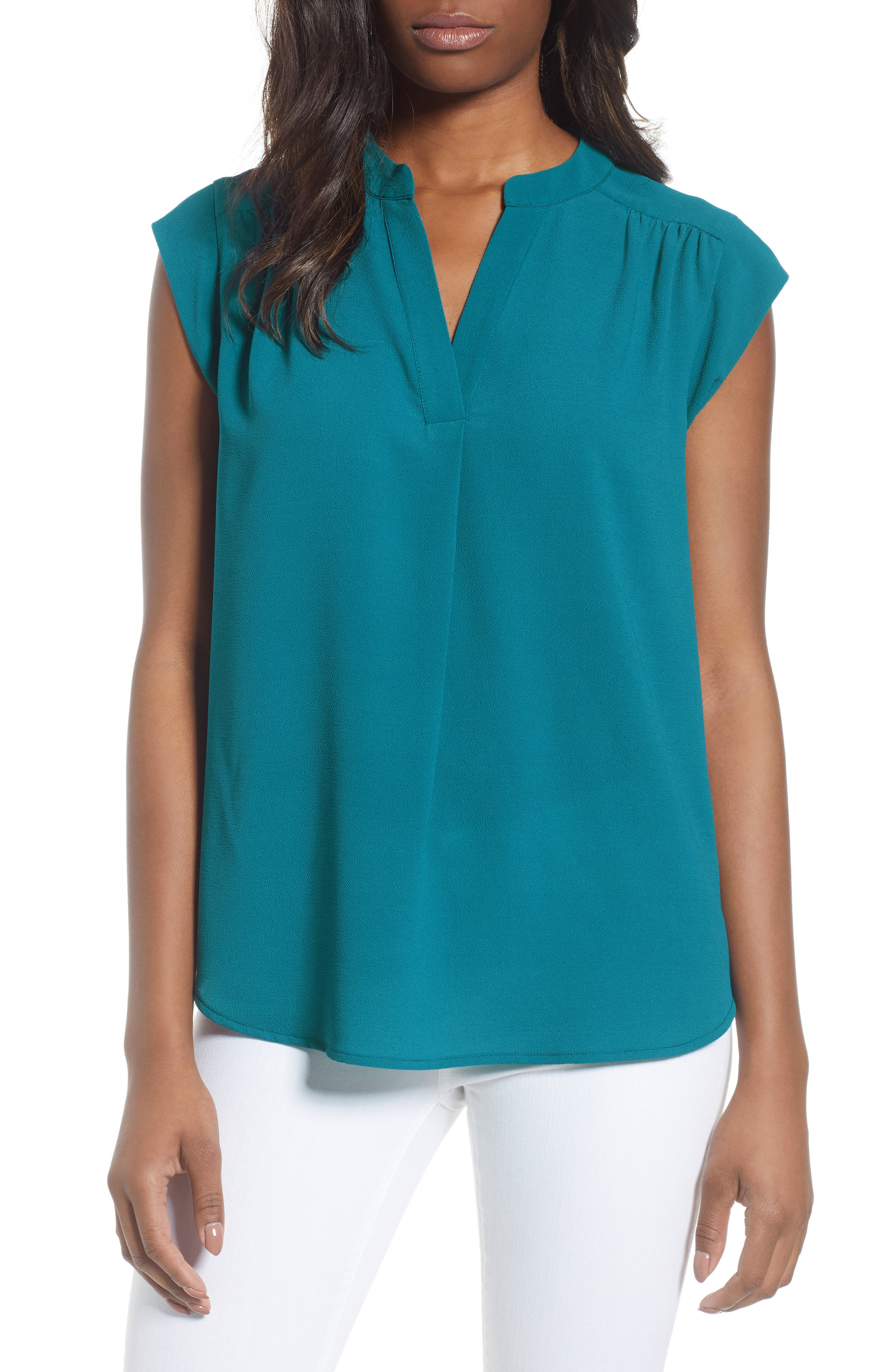 Split Neck Top,                             Main thumbnail 1, color,                             New Teal