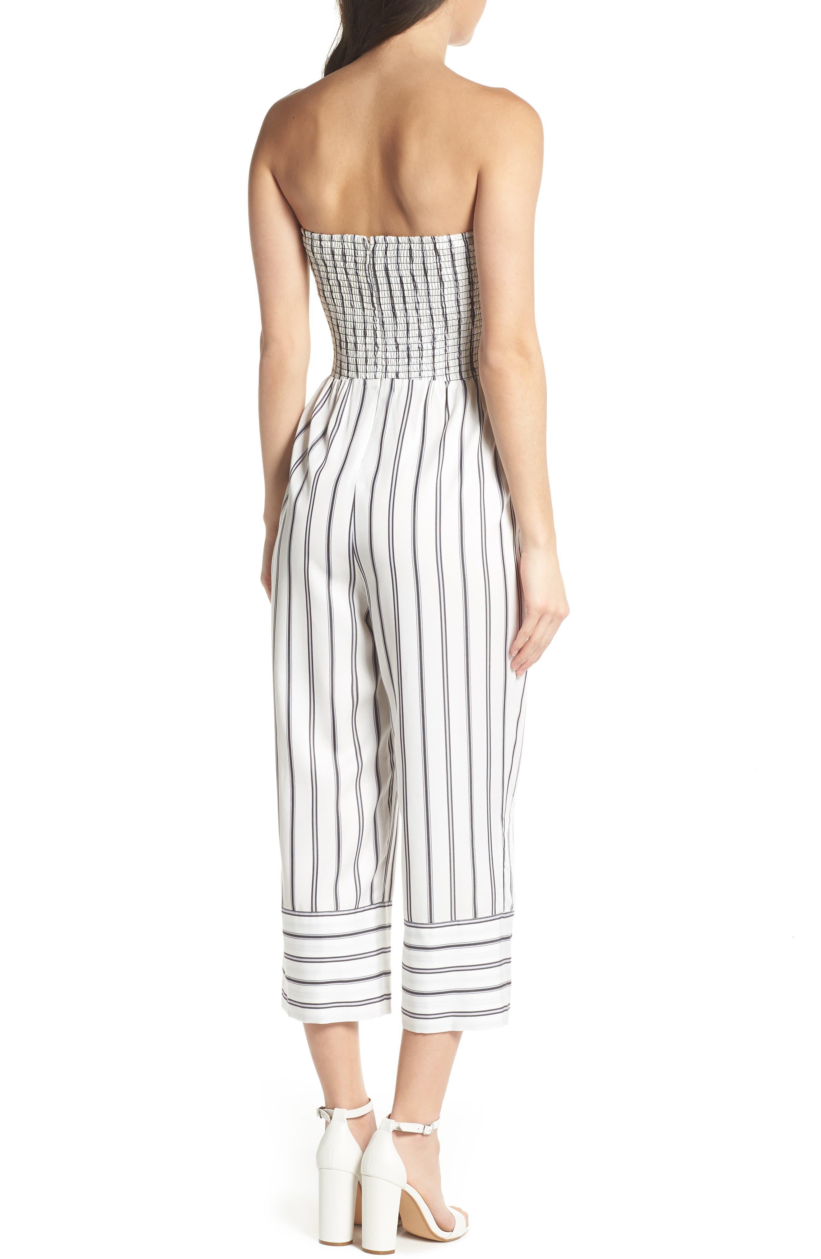 Get in the Grove Stripe Strapless Jumpsuit,                             Alternate thumbnail 2, color,                             Black/ White Uneven Stripe