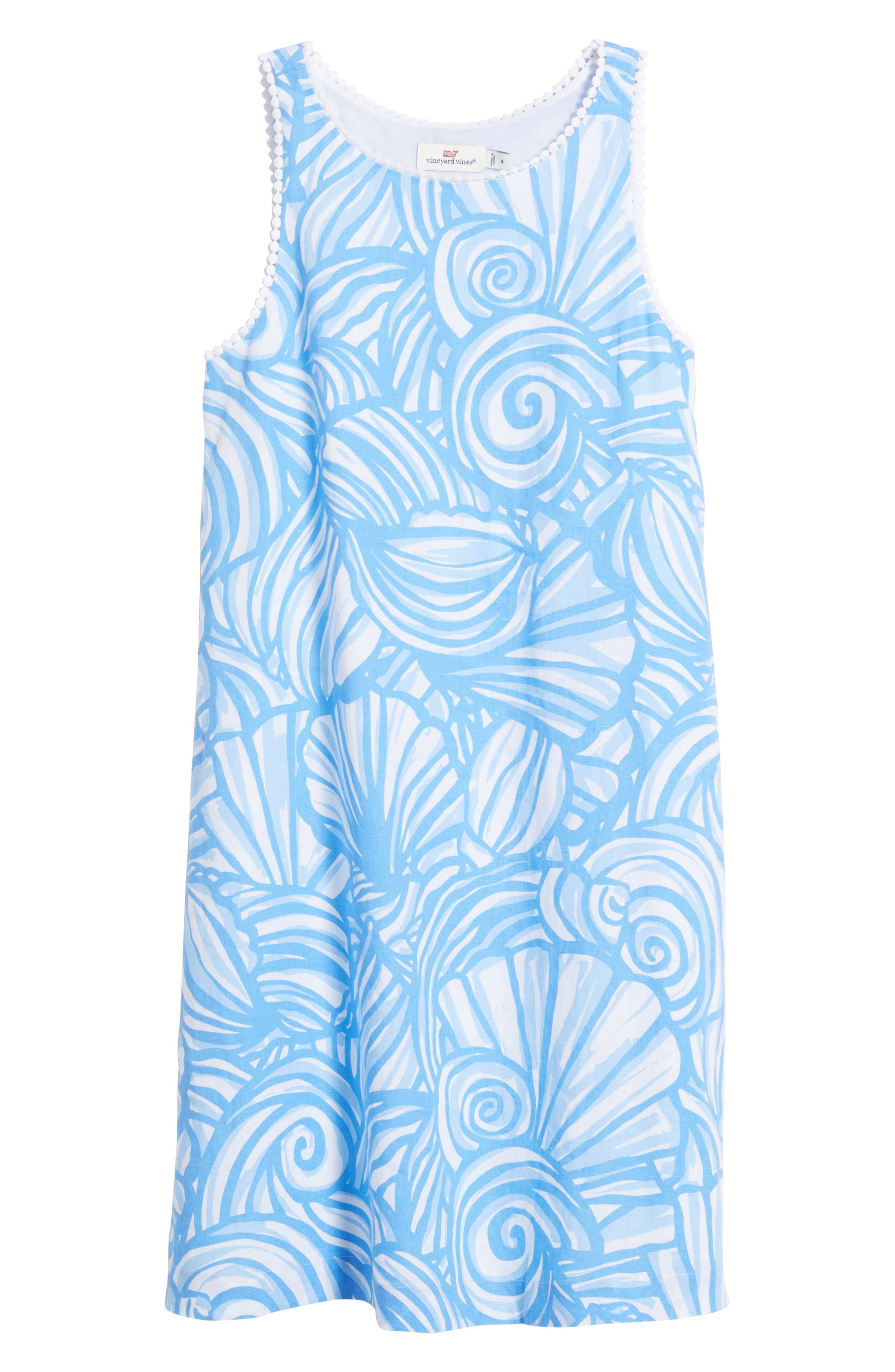 Nautilus Print Shift Dress,                             Alternate thumbnail 7, color,                             Cornflower