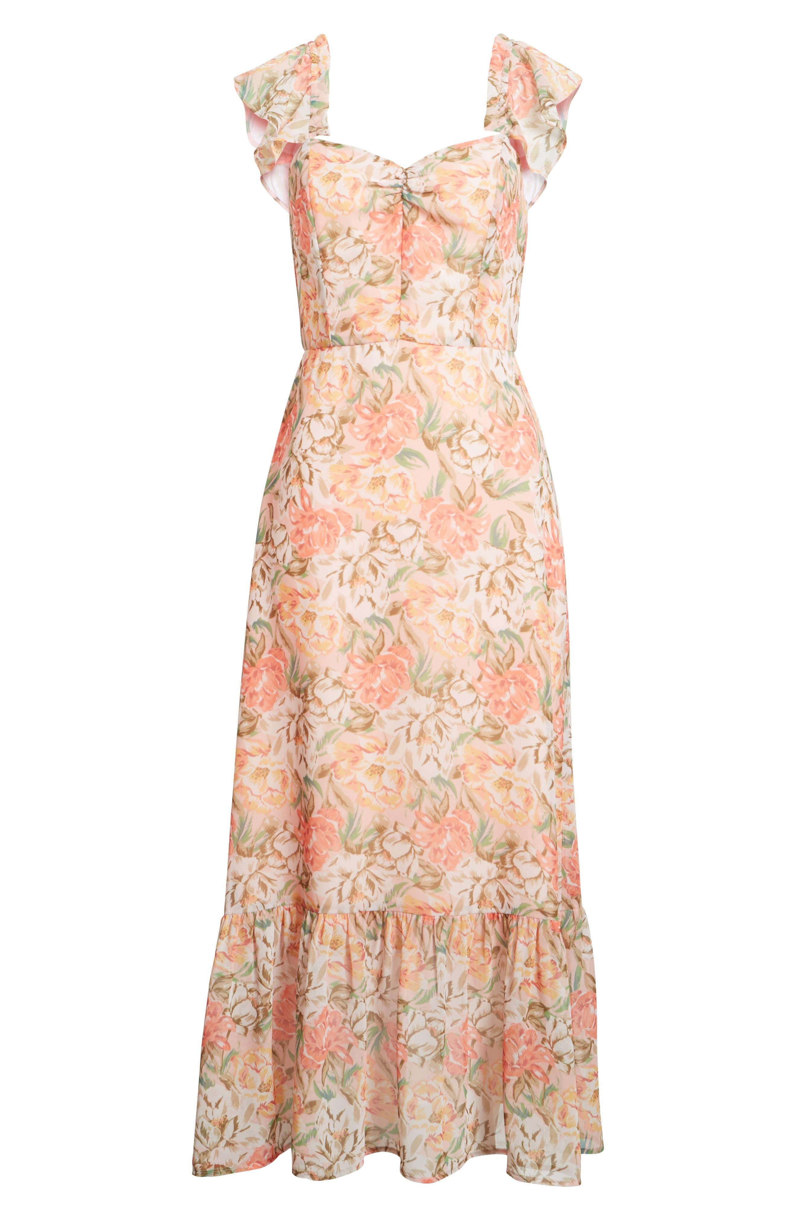 Valerie Blouson Midi Dress,                             Alternate thumbnail 8, color,                             Coral Floral