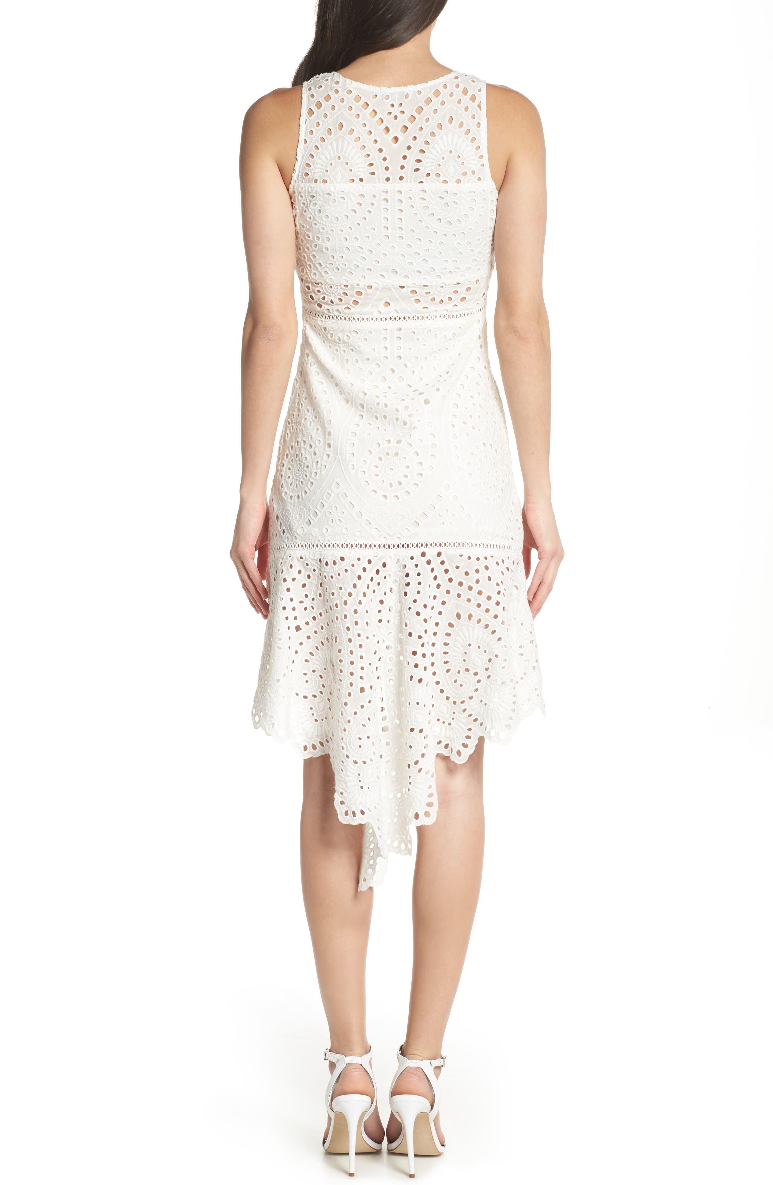 Asymmetric Hem Eyelet Dress,                             Alternate thumbnail 2, color,                             White