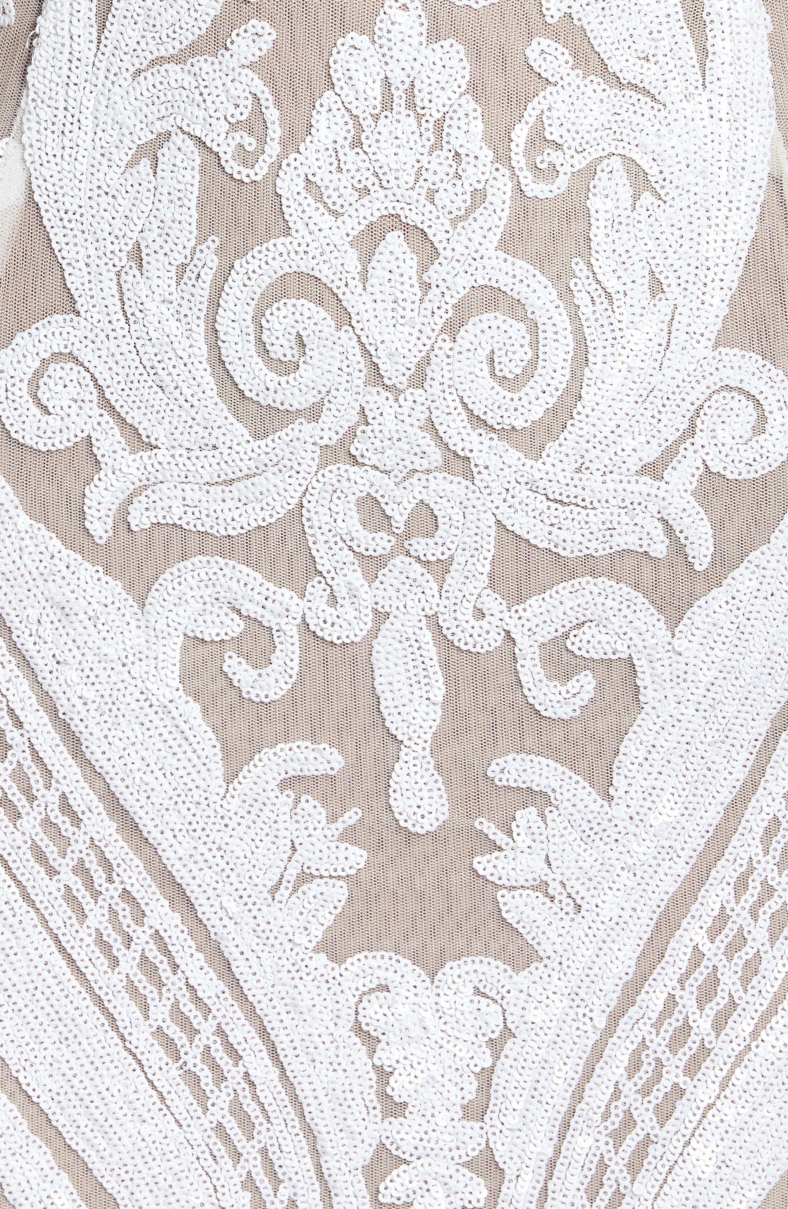 Ester Halter Mermaid Gown,                             Alternate thumbnail 5, color,                             White