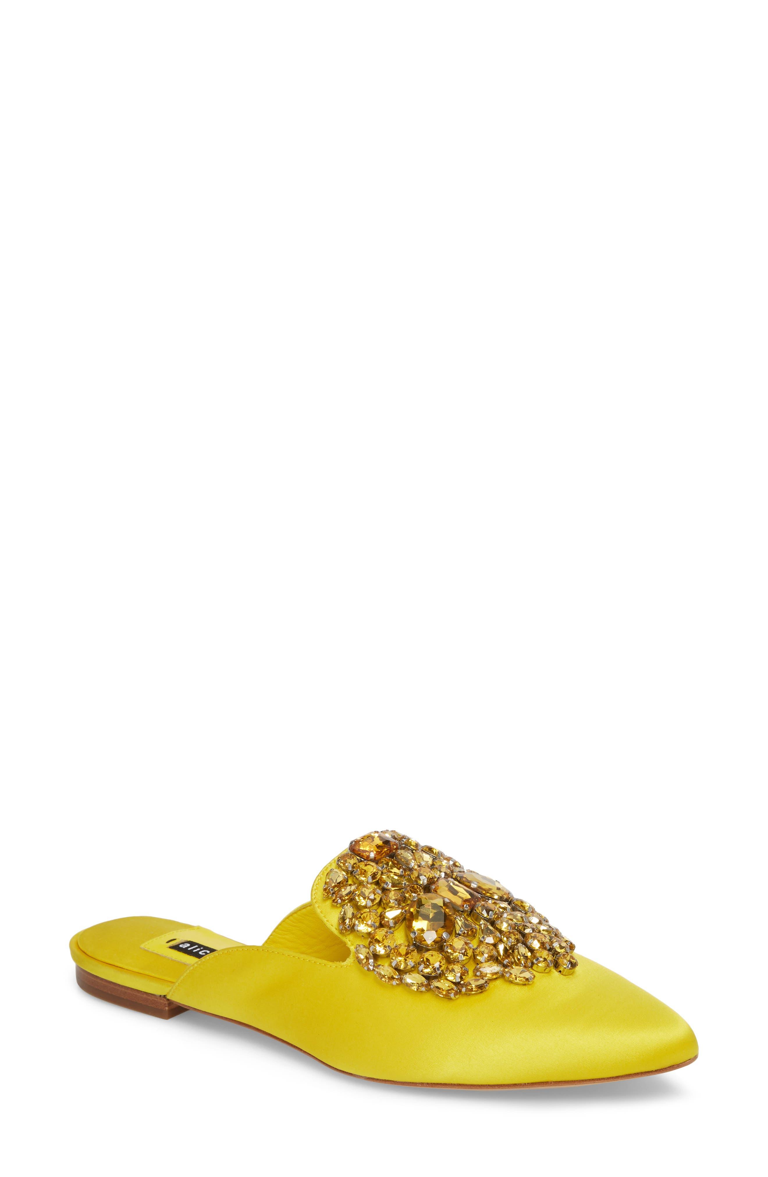 Lilly Crystal Embellished Loafer Mule,                             Main thumbnail 1, color,                             Dandelion
