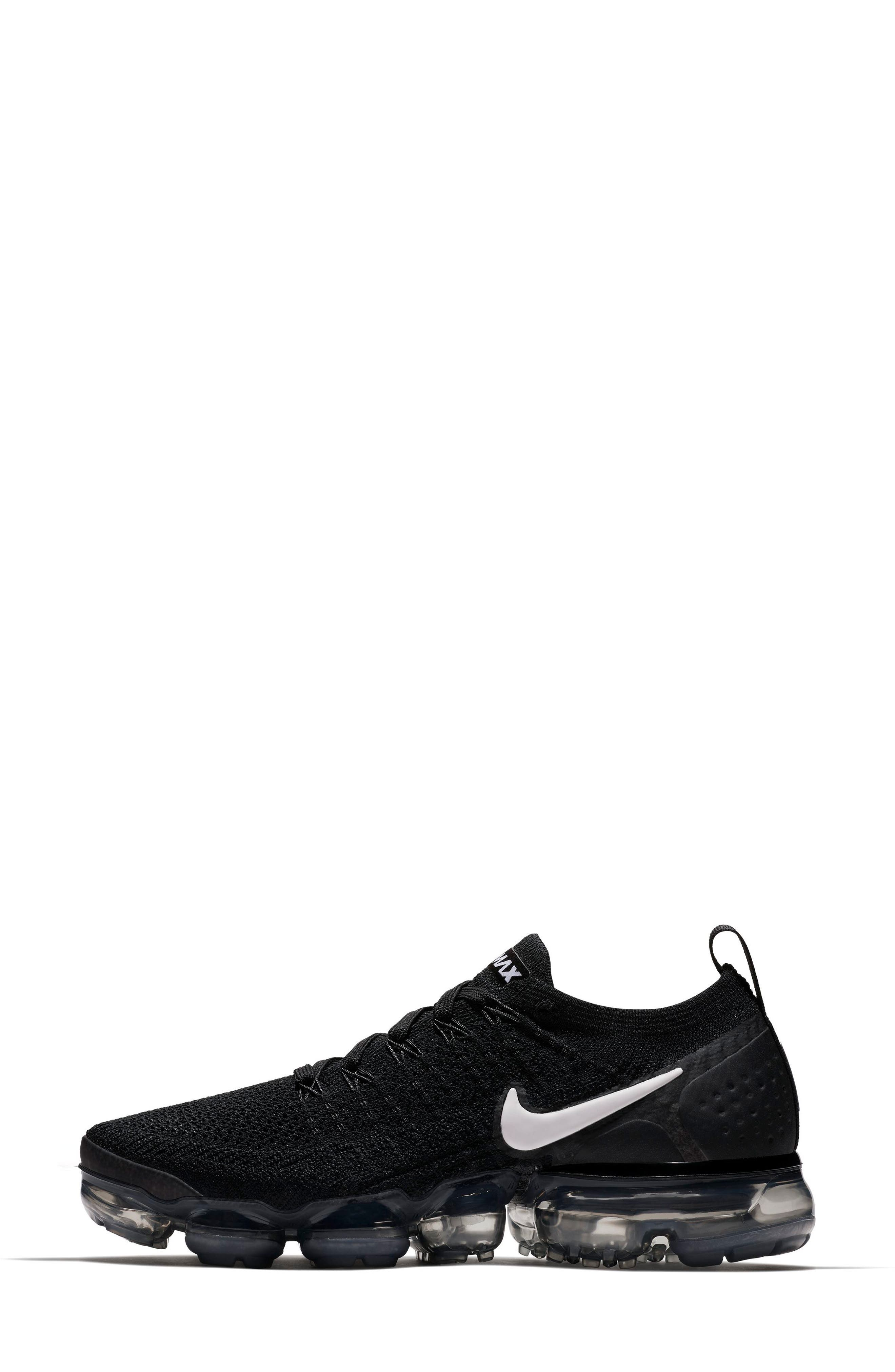 Air VaporMax Flyknit 2 Running Shoe,                             Alternate thumbnail 3, color,                             Black/ White/ Grey/ Silver