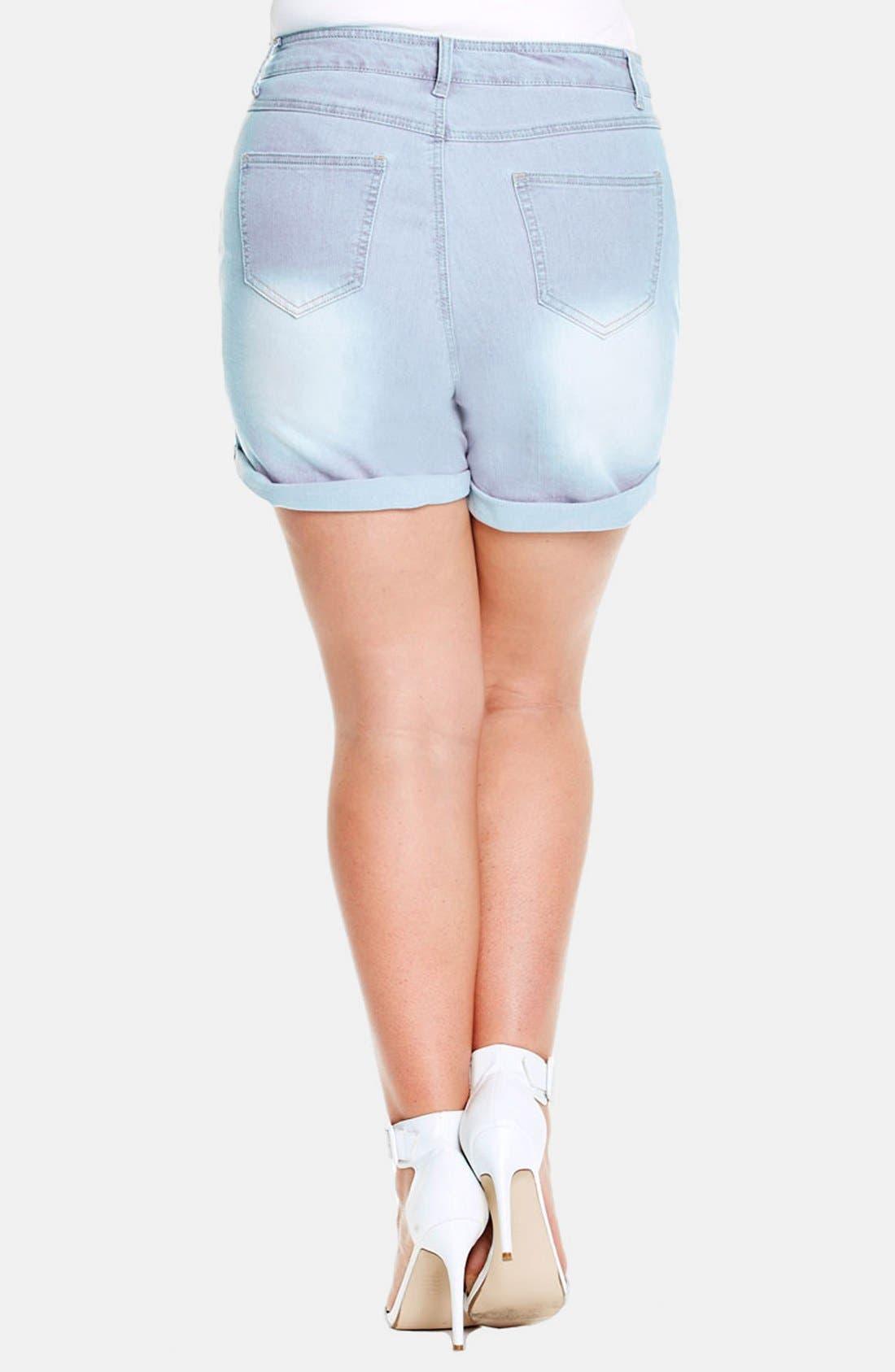 Alternate Image 2  - City Chic High Waist Denim Shorts (Plus Size)