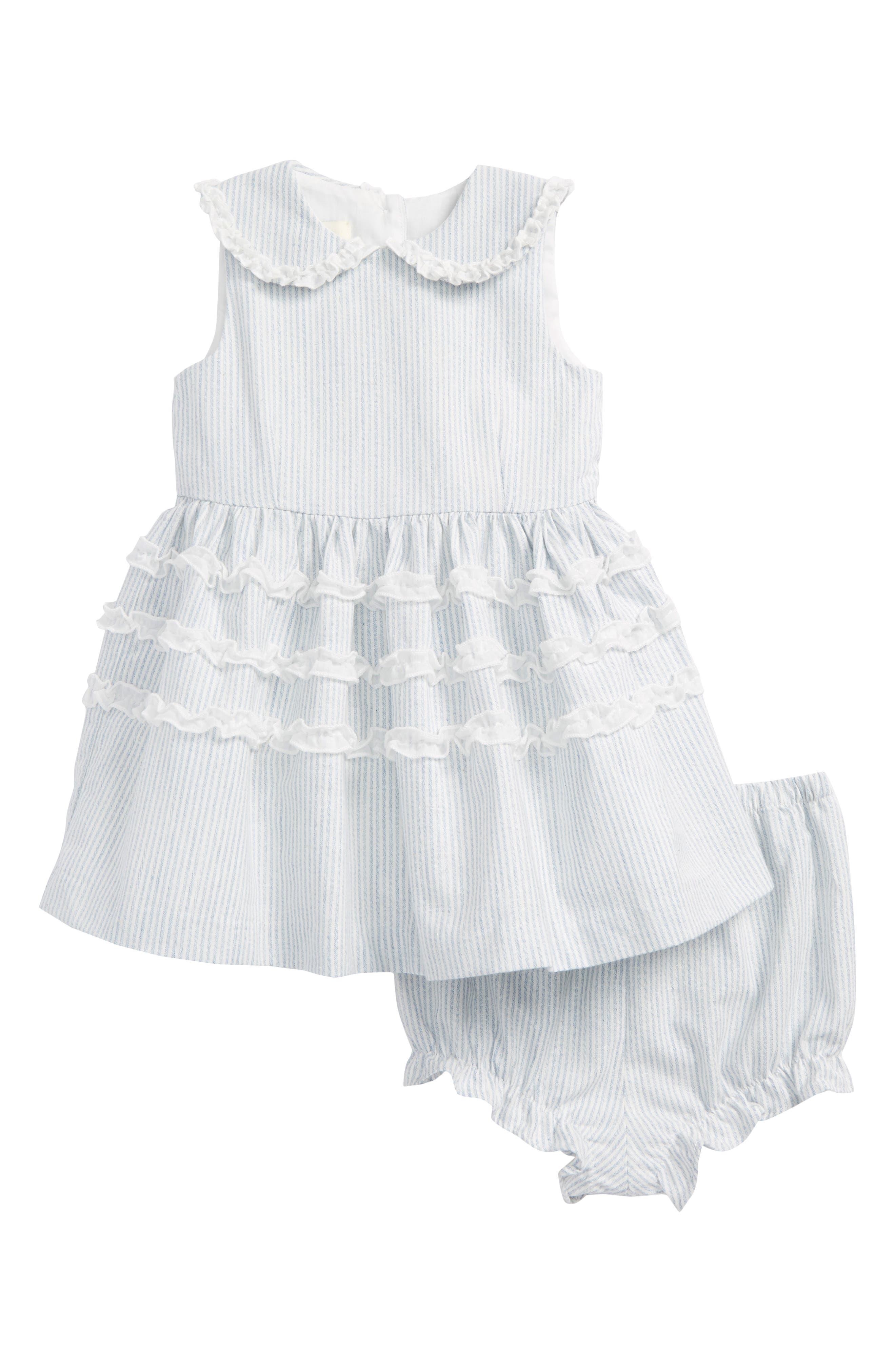 Main Image - Pippa & Julie Peter Pan Collar Ruffle Dress (Baby Girls)