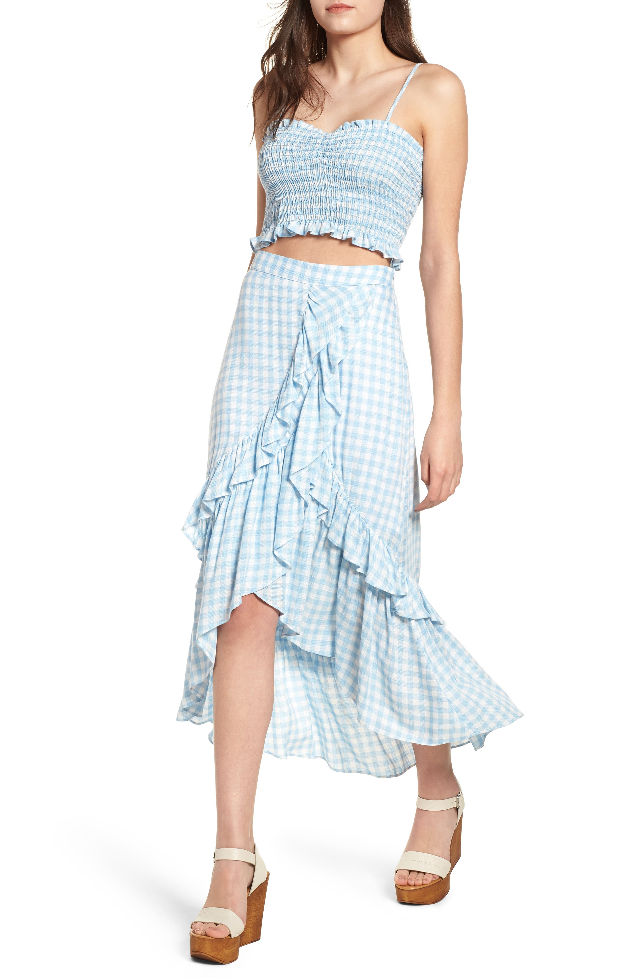 Fiesta Smocked Gingham Crop Top,                             Alternate thumbnail 3, color,                             Baby Blue