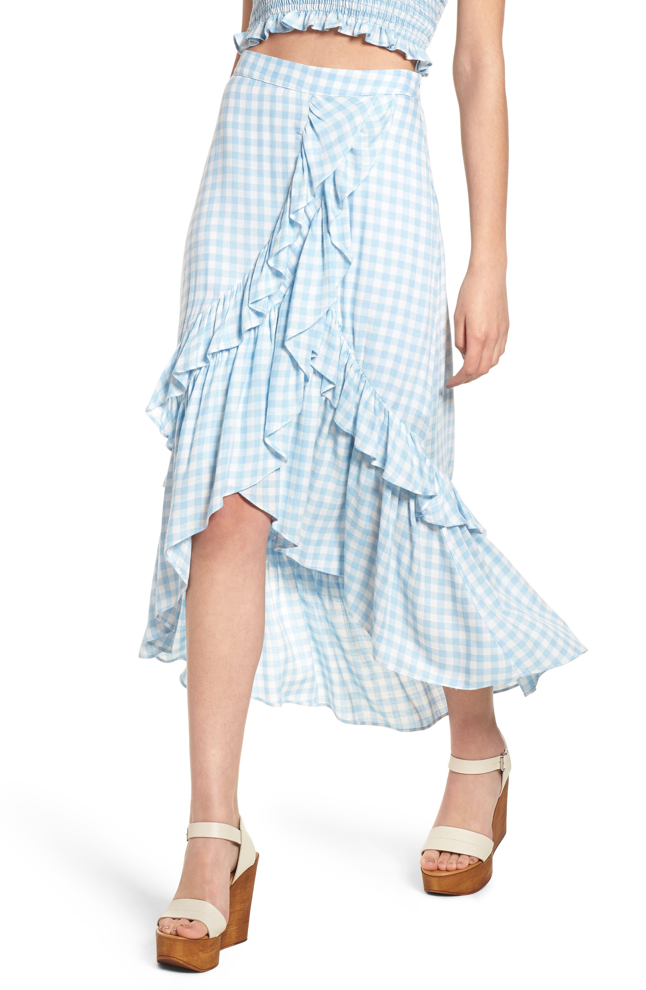 Fiesta Ruffle Gingham Skirt,                         Main,                         color, Baby Blue