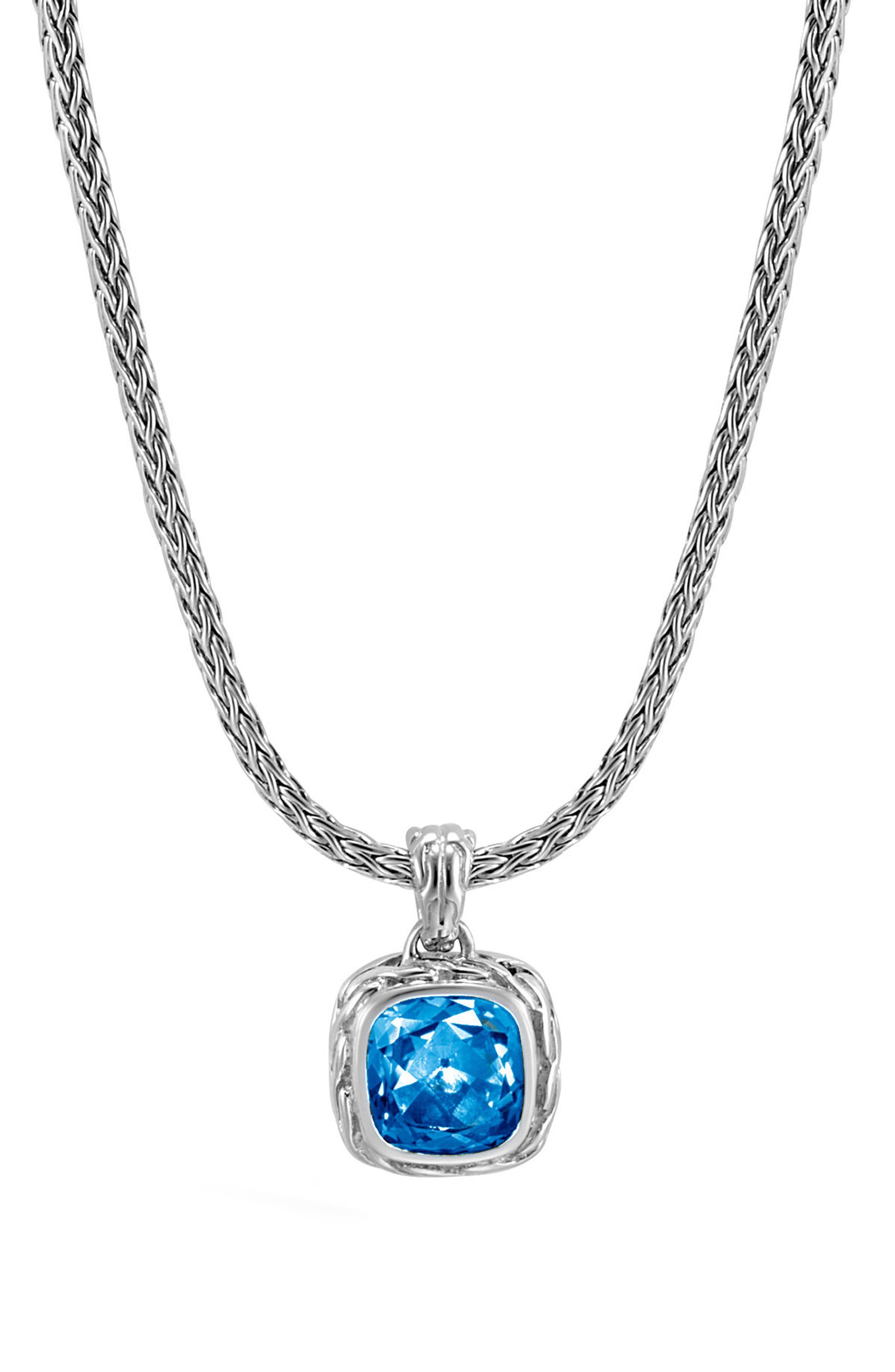 Magic Cut Blue Topaz Pendant Necklace,                         Main,                         color, Silver/ London Blue Topaz