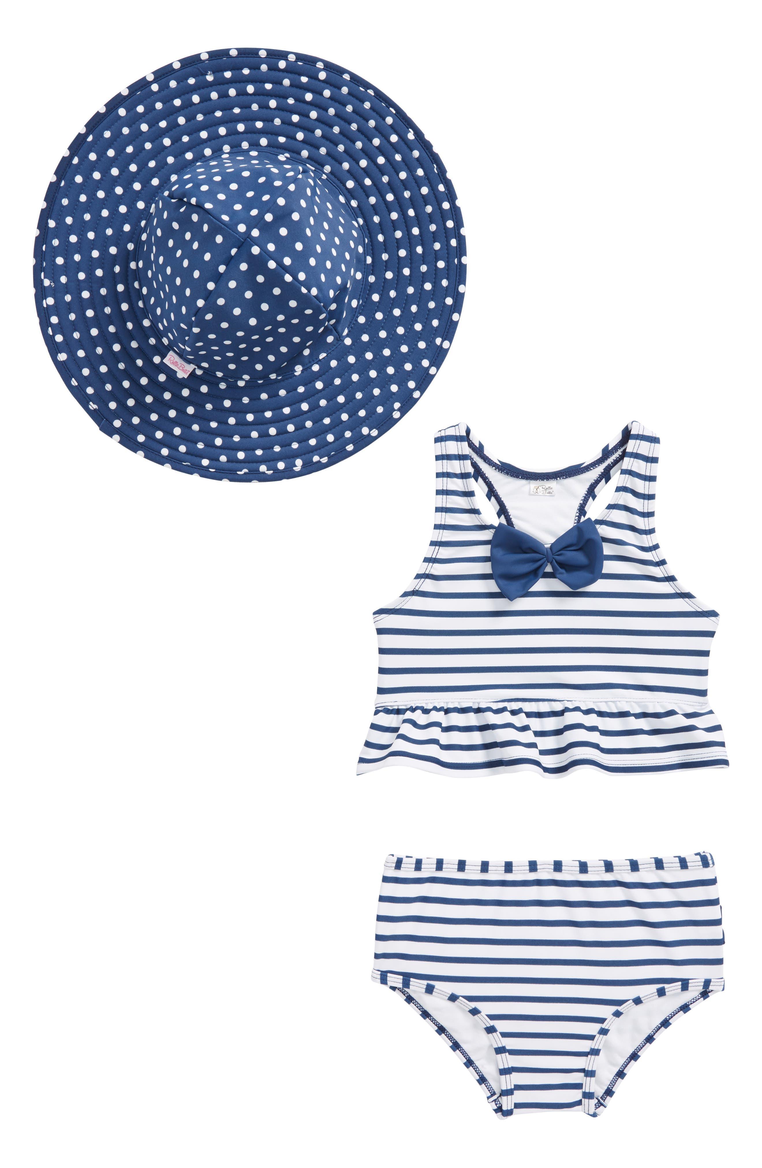 Stripe Peplum Two-Piece Tankini Swimsuit & Reversible Hat Set,                         Main,                         color, Navy