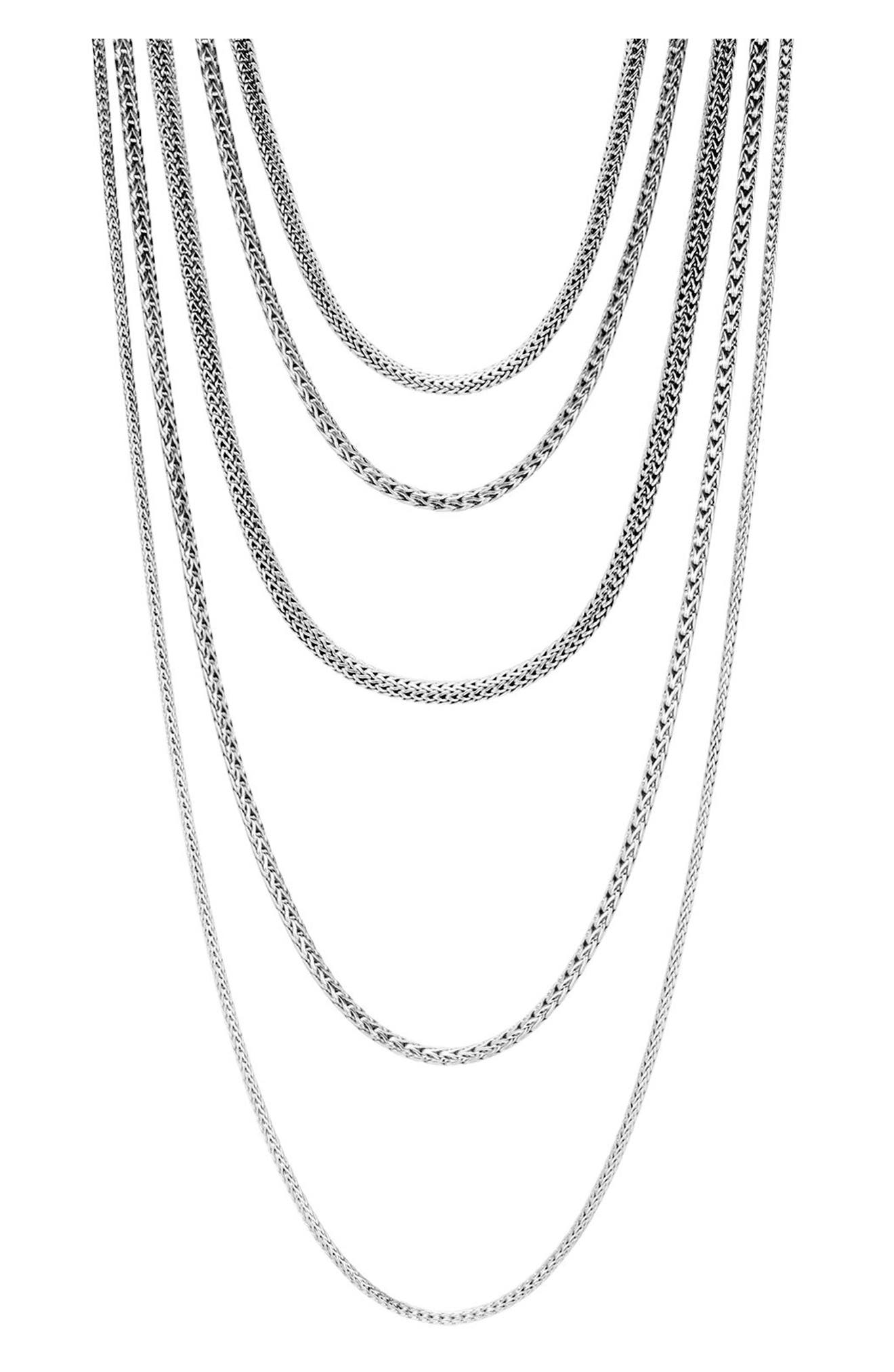 Classic Chain Five Strand Necklace,                             Main thumbnail 1, color,                             Silver