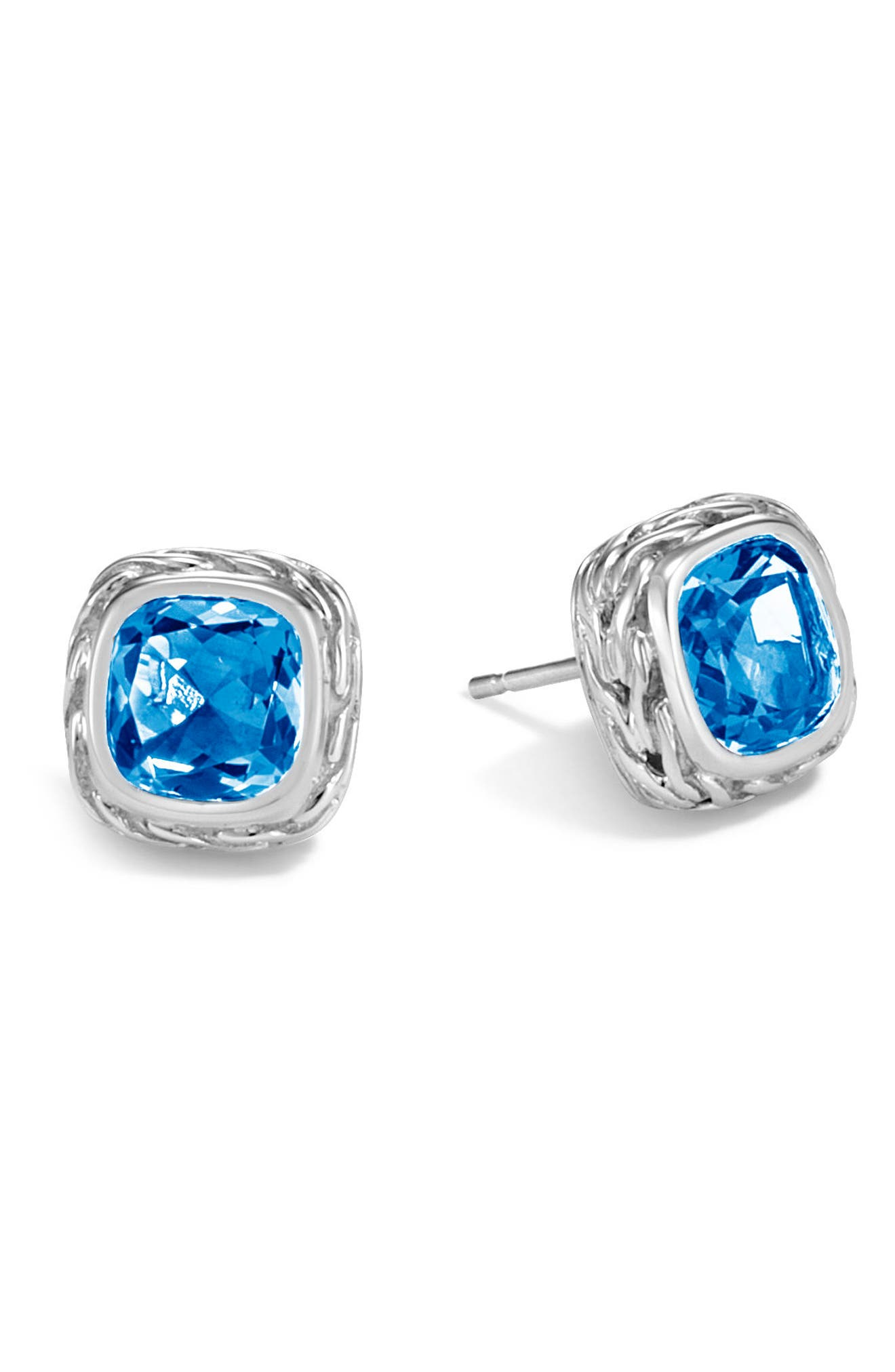Magic Cut Blue Topaz Stud Earrings,                             Main thumbnail 1, color,                             Silver/ London Blue Topaz