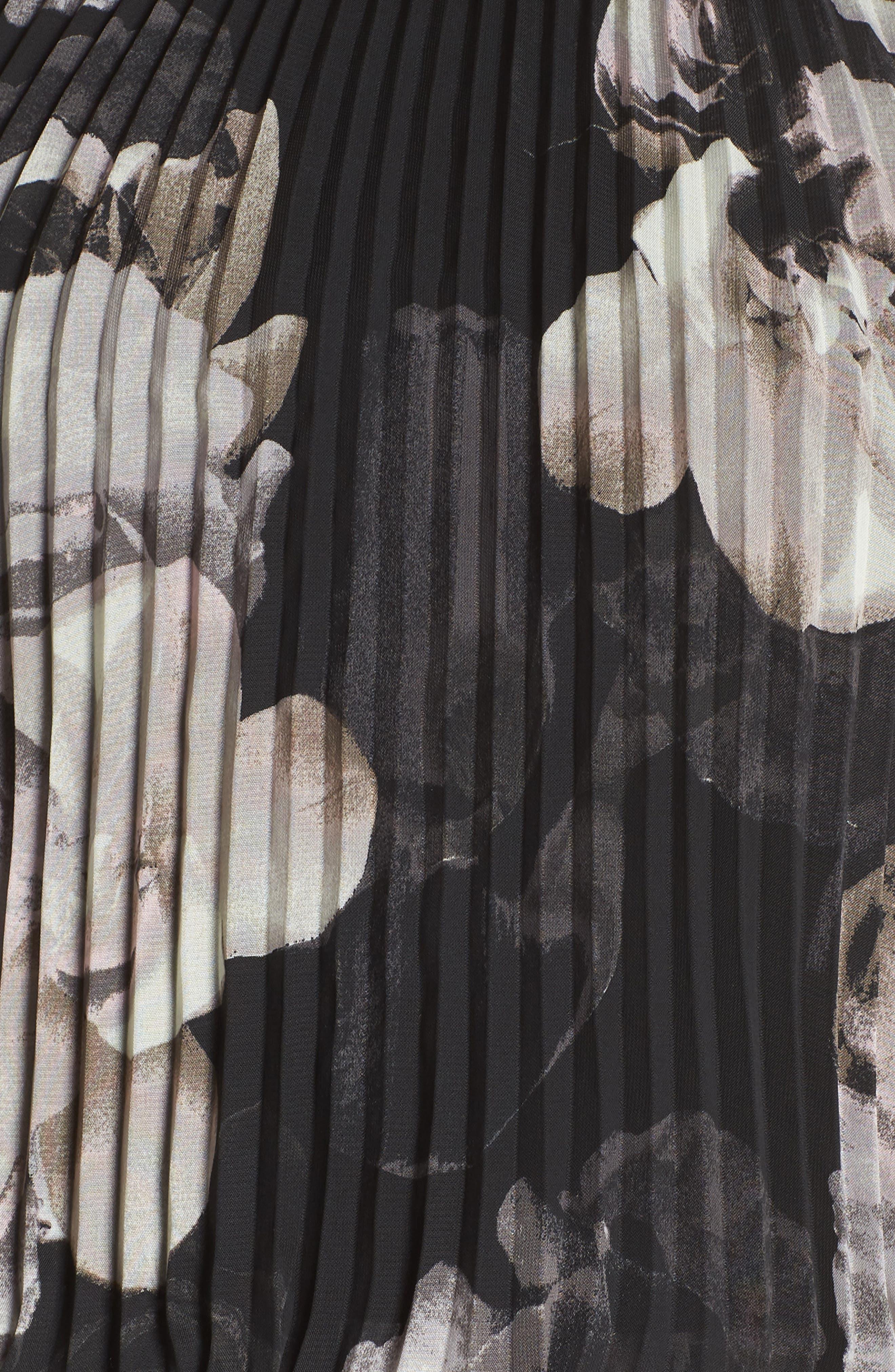 Pleated Halter Neck Chiffon Gown,                             Alternate thumbnail 6, color,                             Black/ White