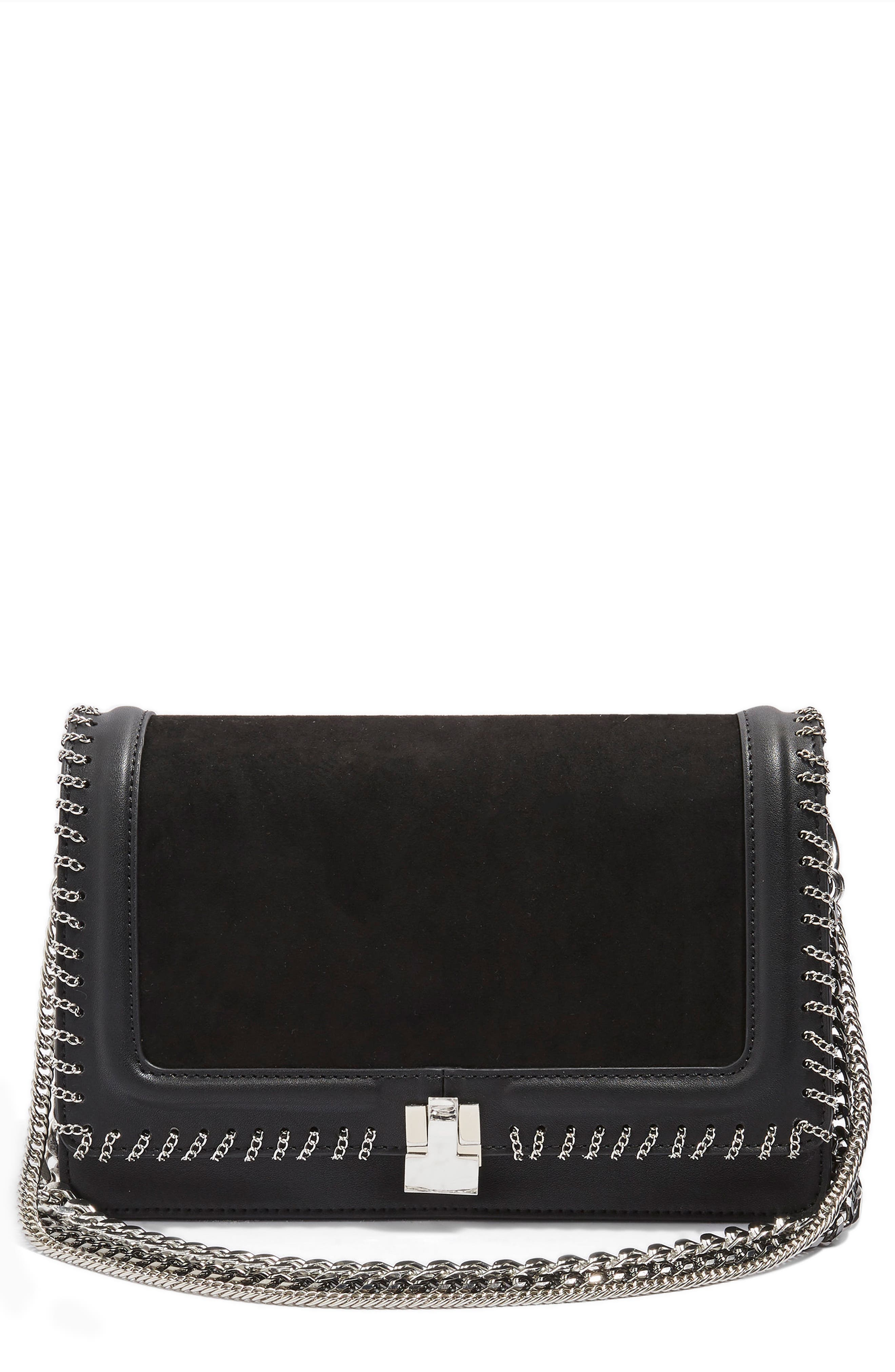 Chain Flap Shoulder Bag,                             Main thumbnail 1, color,                             Black Multi