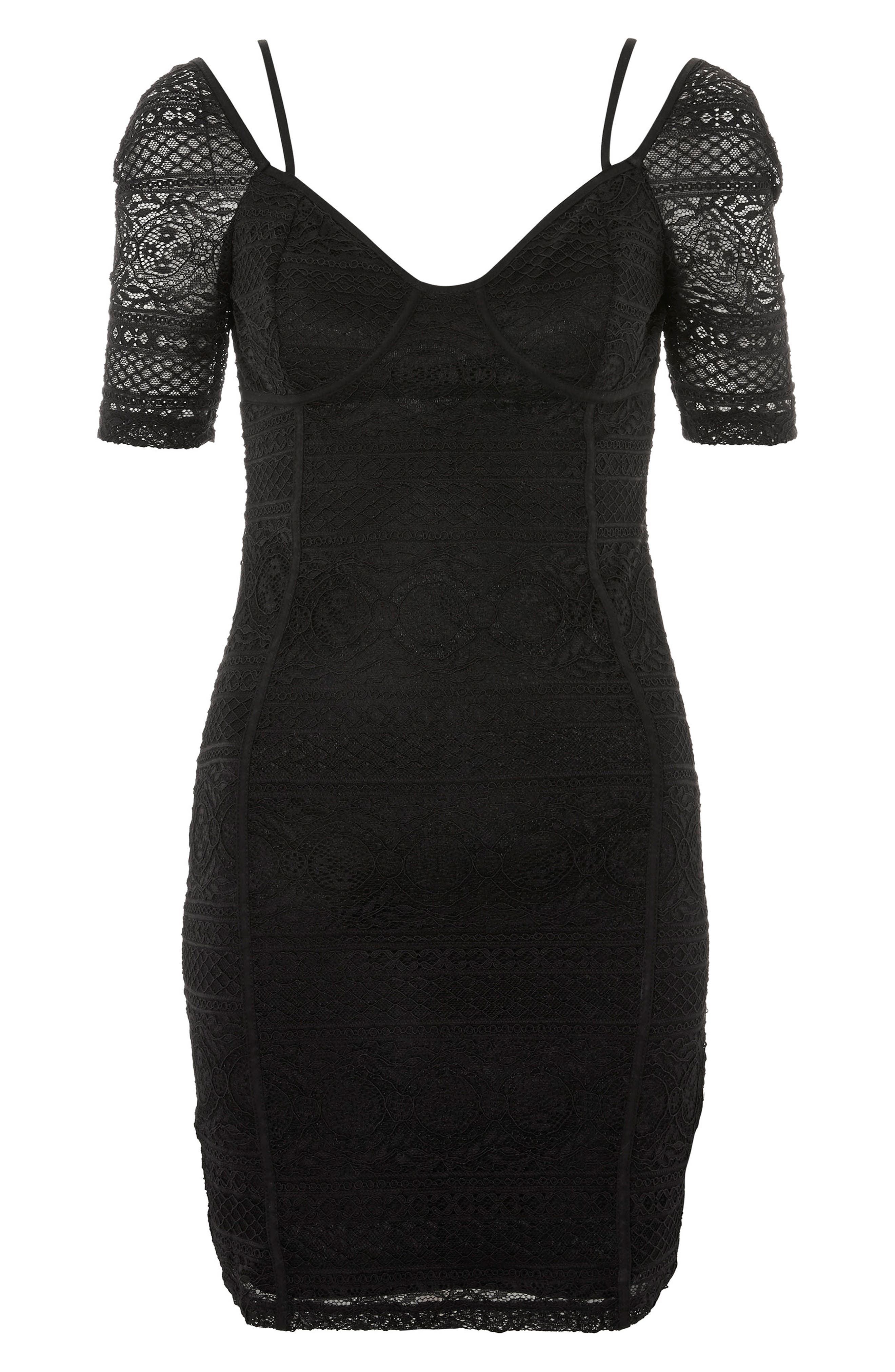 Sweetheart Neck Lace Body-Con Minidress,                             Alternate thumbnail 4, color,                             Black