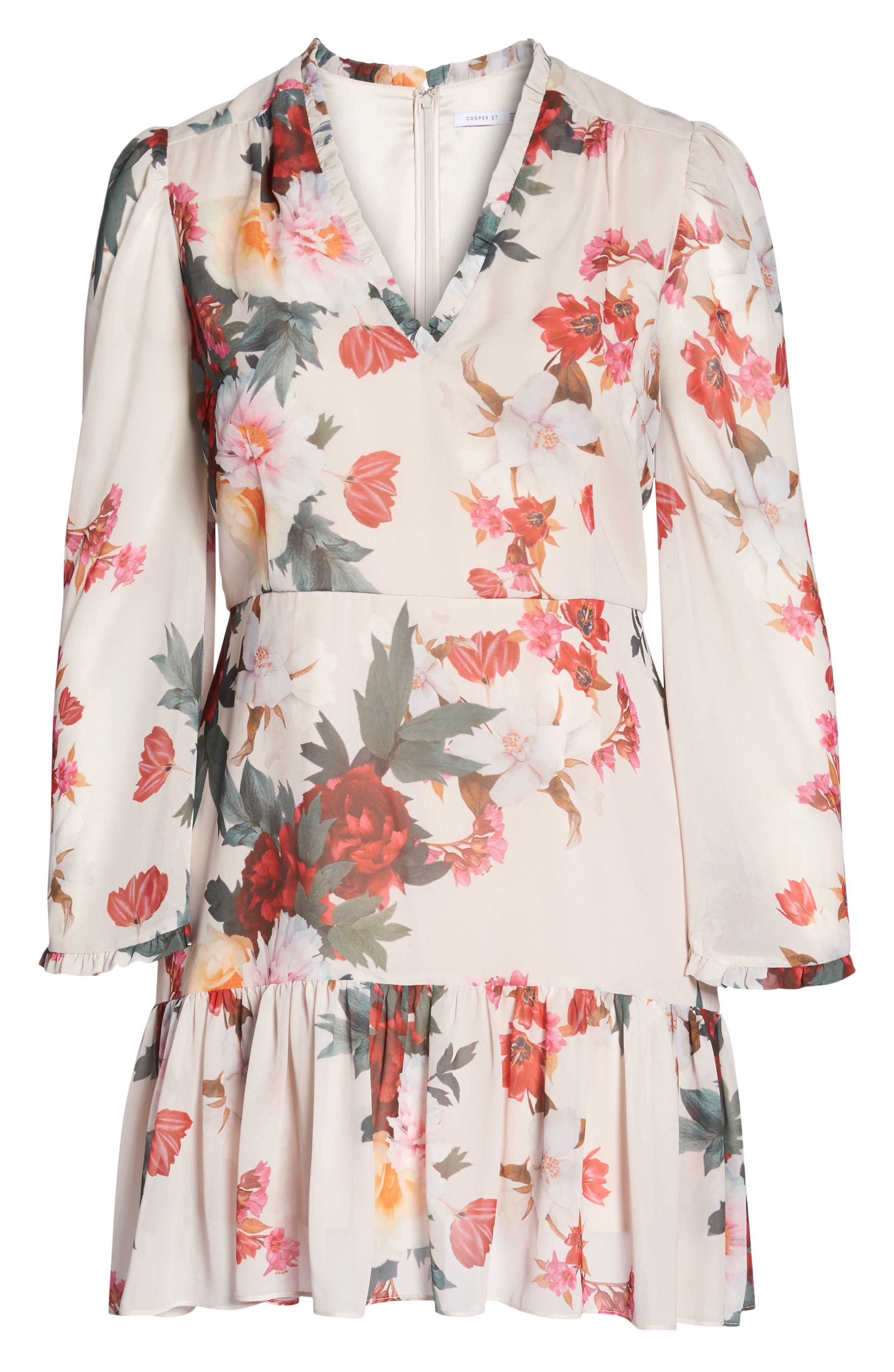 Rosa Floral Chiffon Minidress,                             Alternate thumbnail 7, color,                             Print
