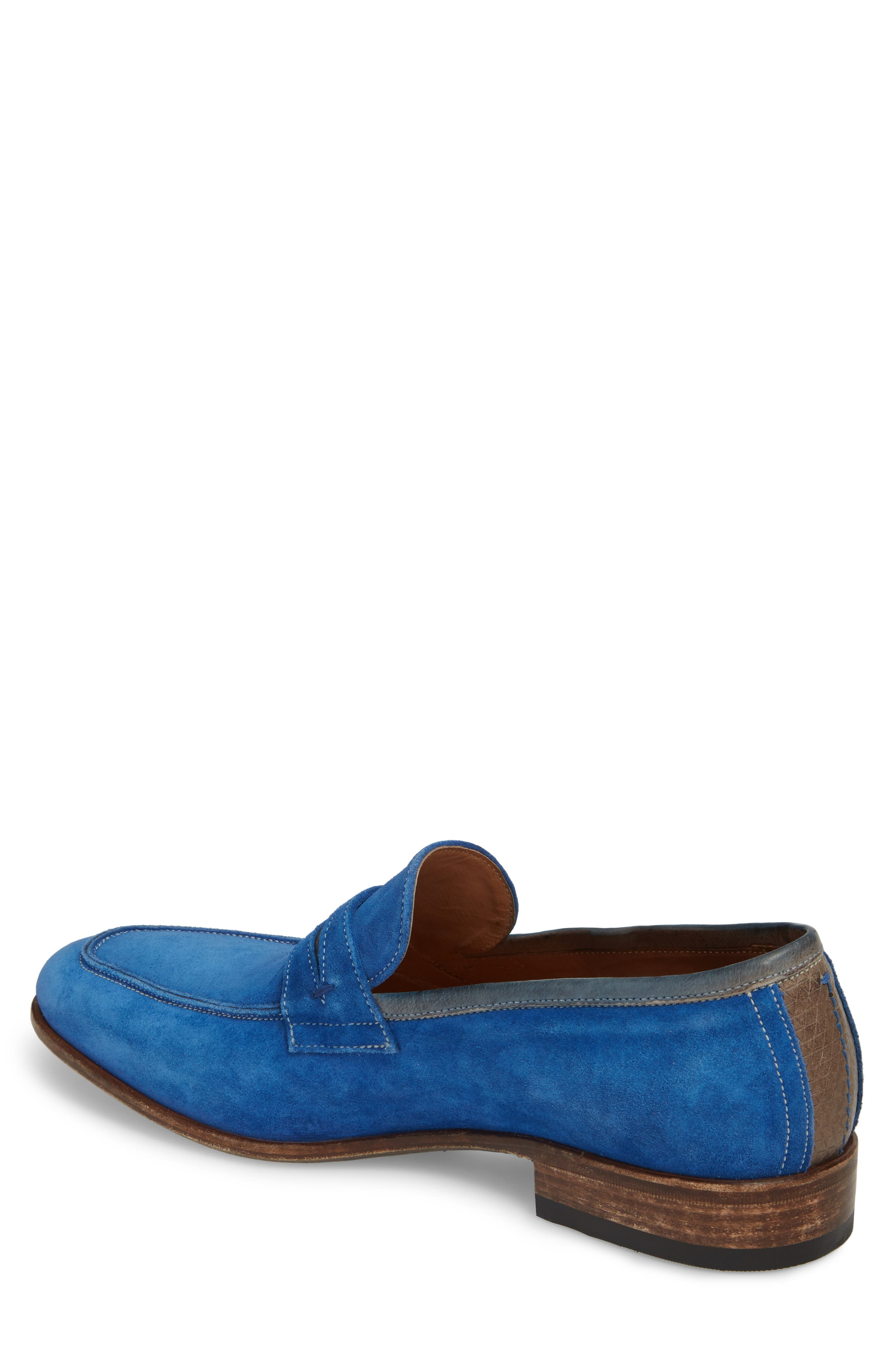 Lex Apron Toe Penny Loafer,                             Alternate thumbnail 2, color,                             Blue Suede