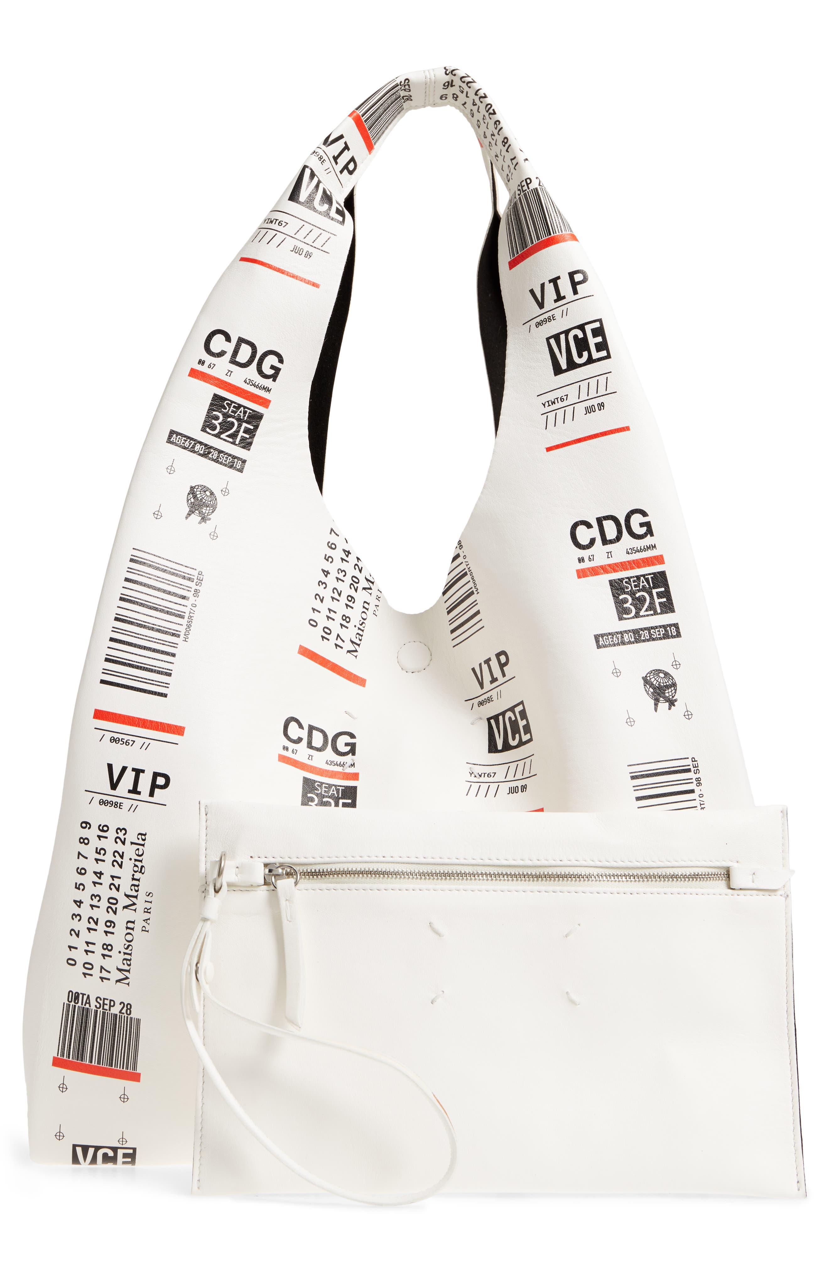 Boarding Pass Print Calfskin Leather Shopper,                             Alternate thumbnail 3, color,                             Black/ White