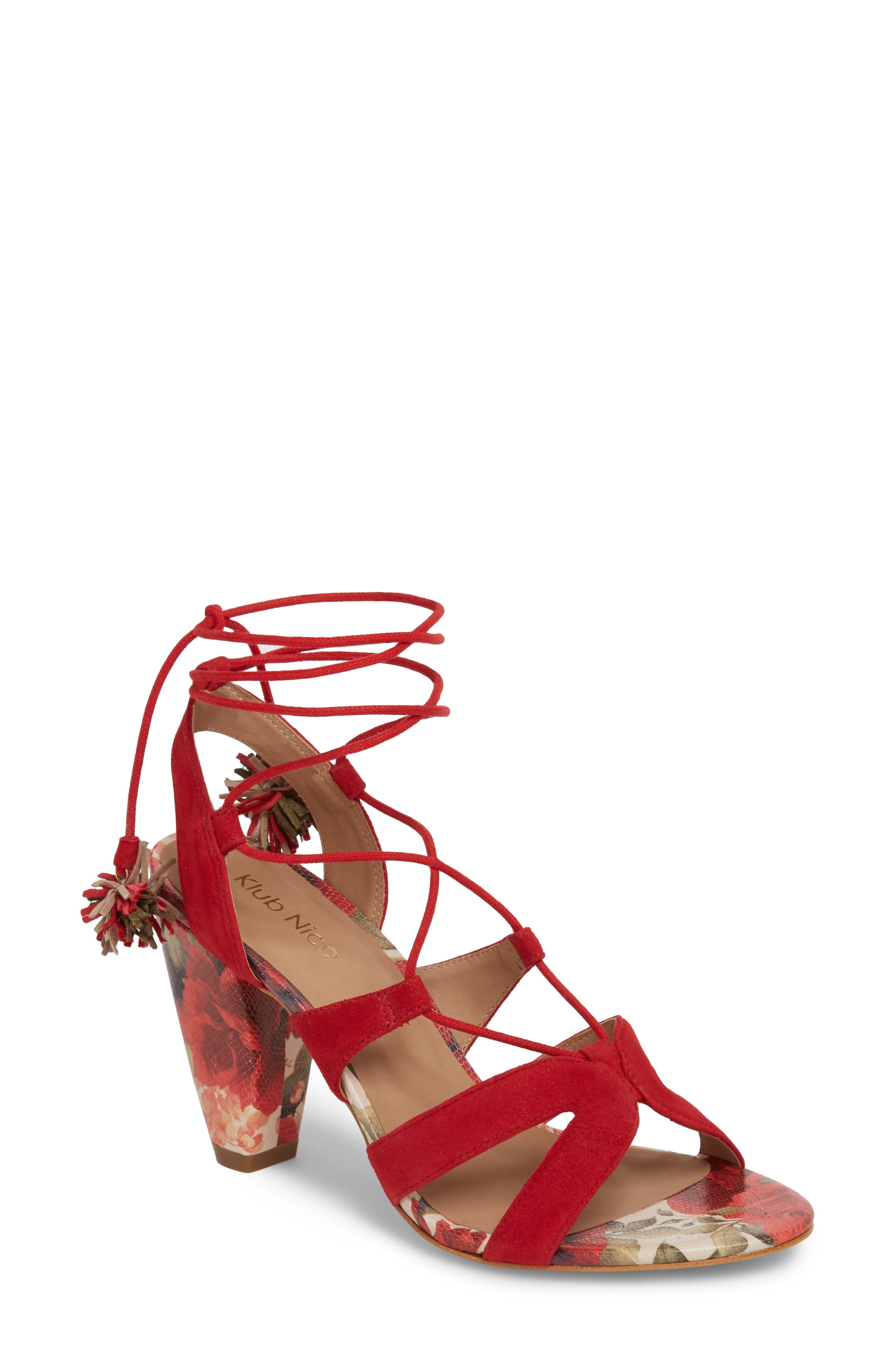 Maxine Sandal,                         Main,                         color, Red Suede