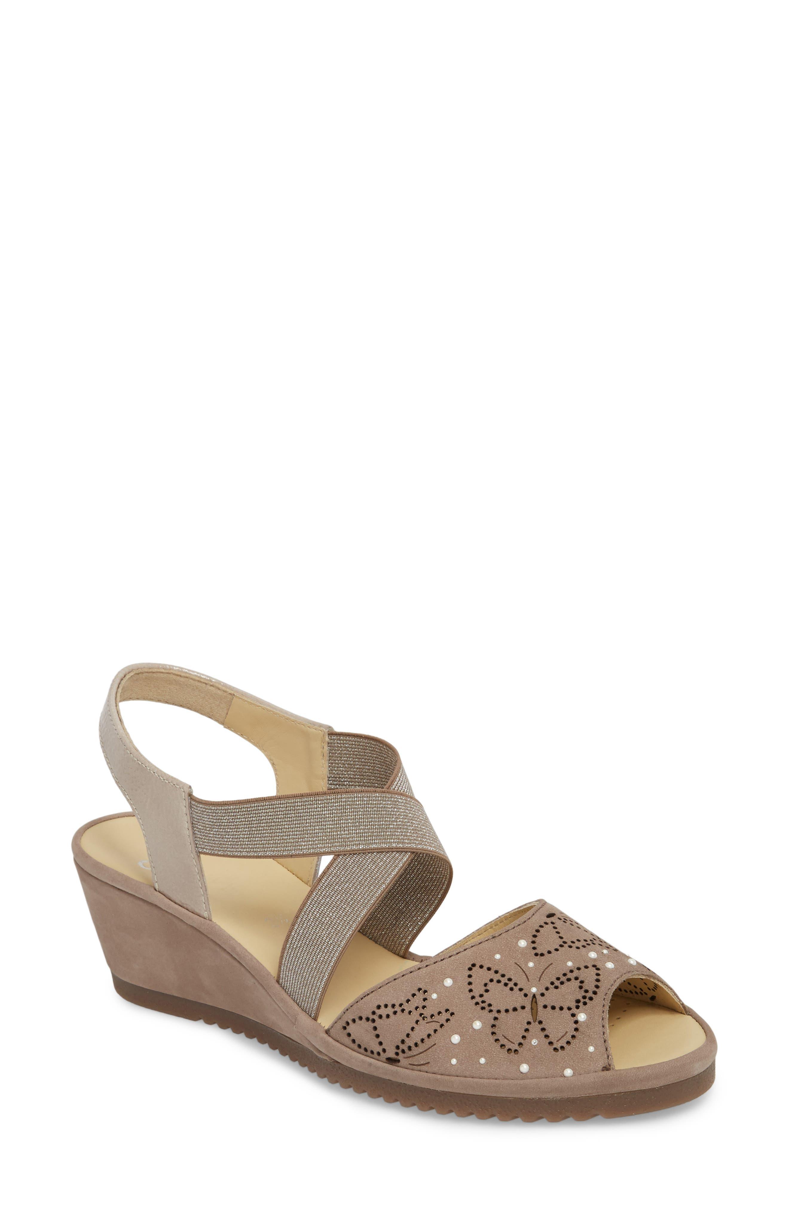 Celia Wedge Sandal,                         Main,                         color, Taupe Nubuck