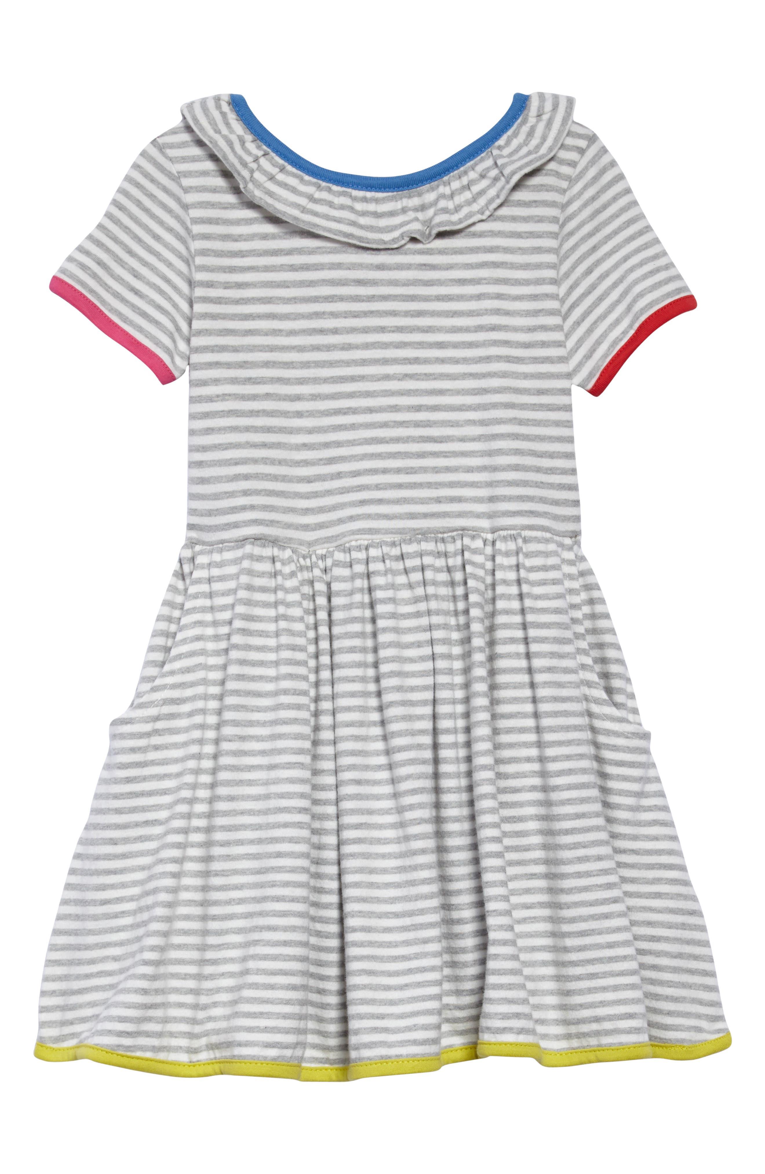Stripe Jersey Dress,                             Main thumbnail 1, color,                             Ecru/ Grey Marl
