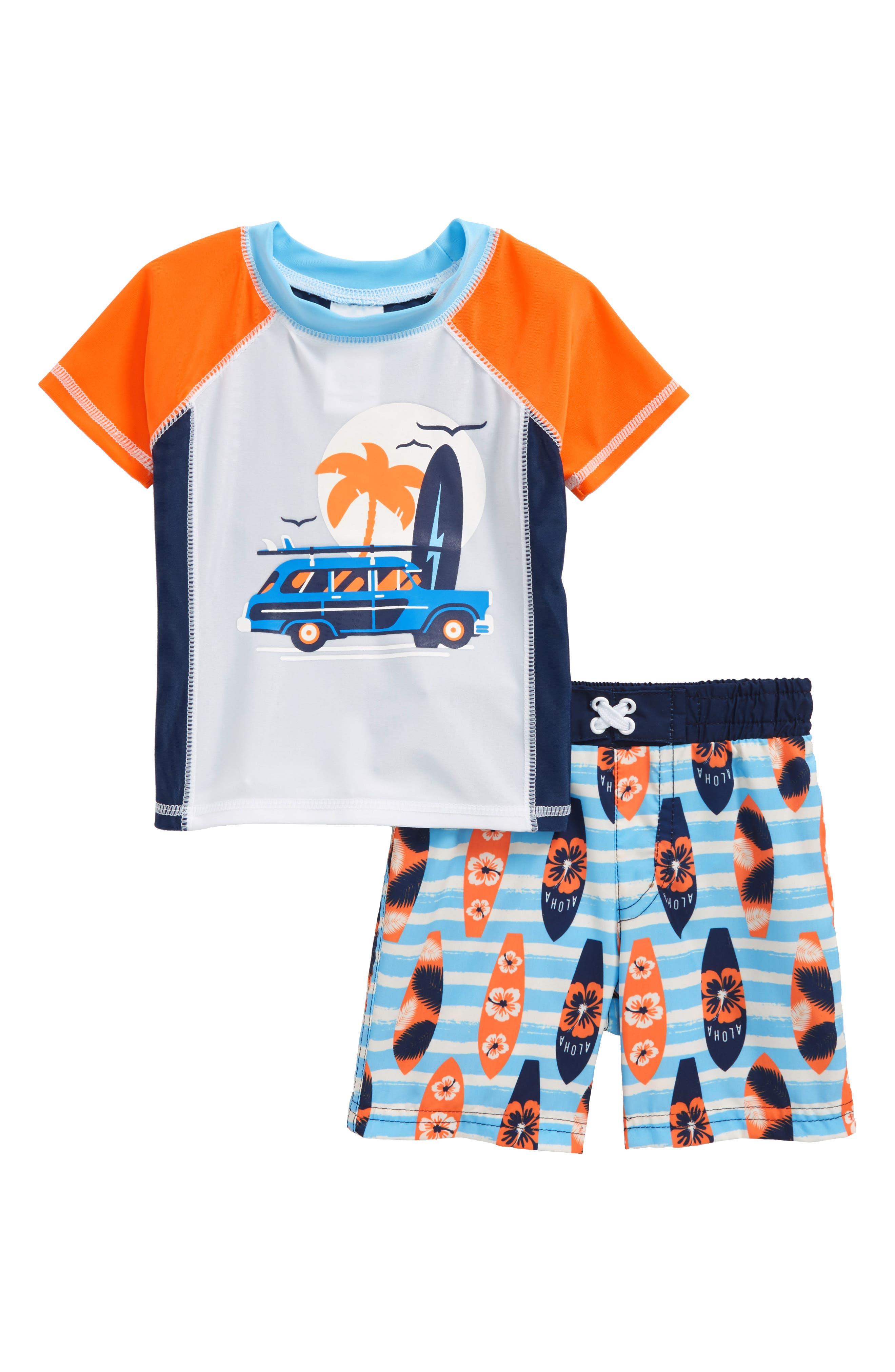Sol Swim Surf Shop Two-Piece Rashguard Swimsuit (Baby Boys)