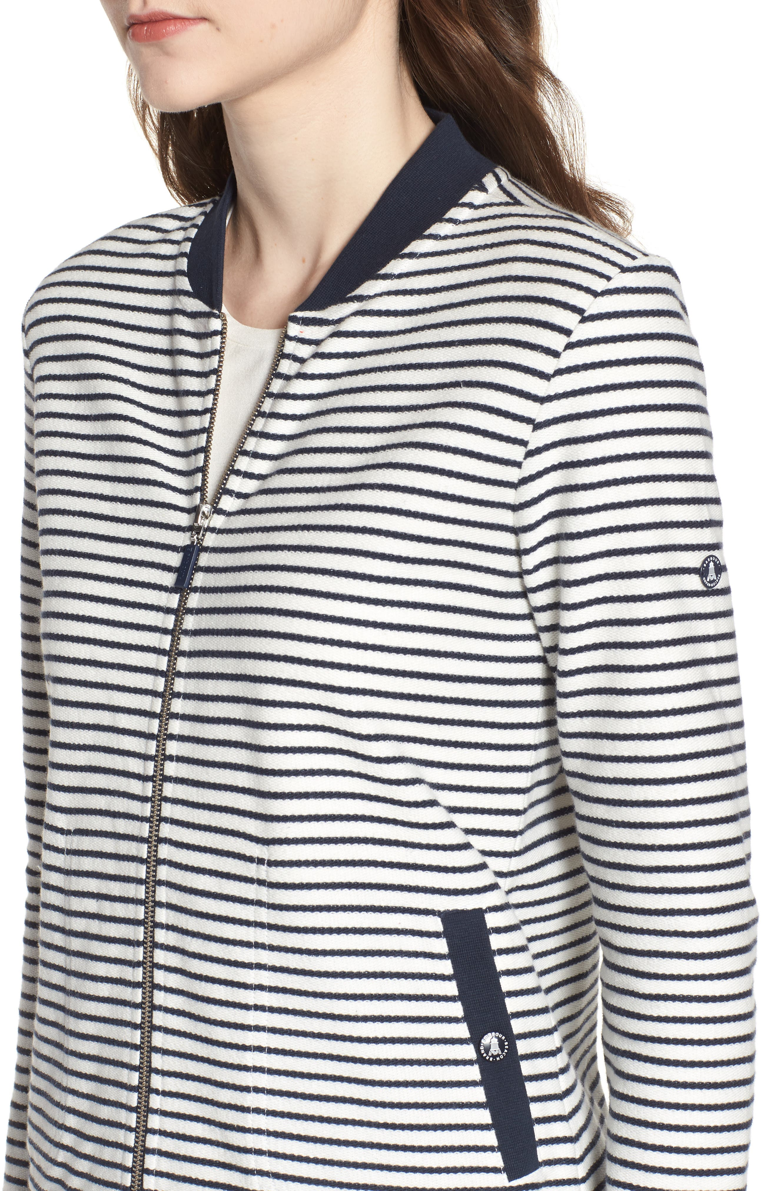 Bamburgh Sweater Jacket,                             Alternate thumbnail 4, color,                             White/ Navy