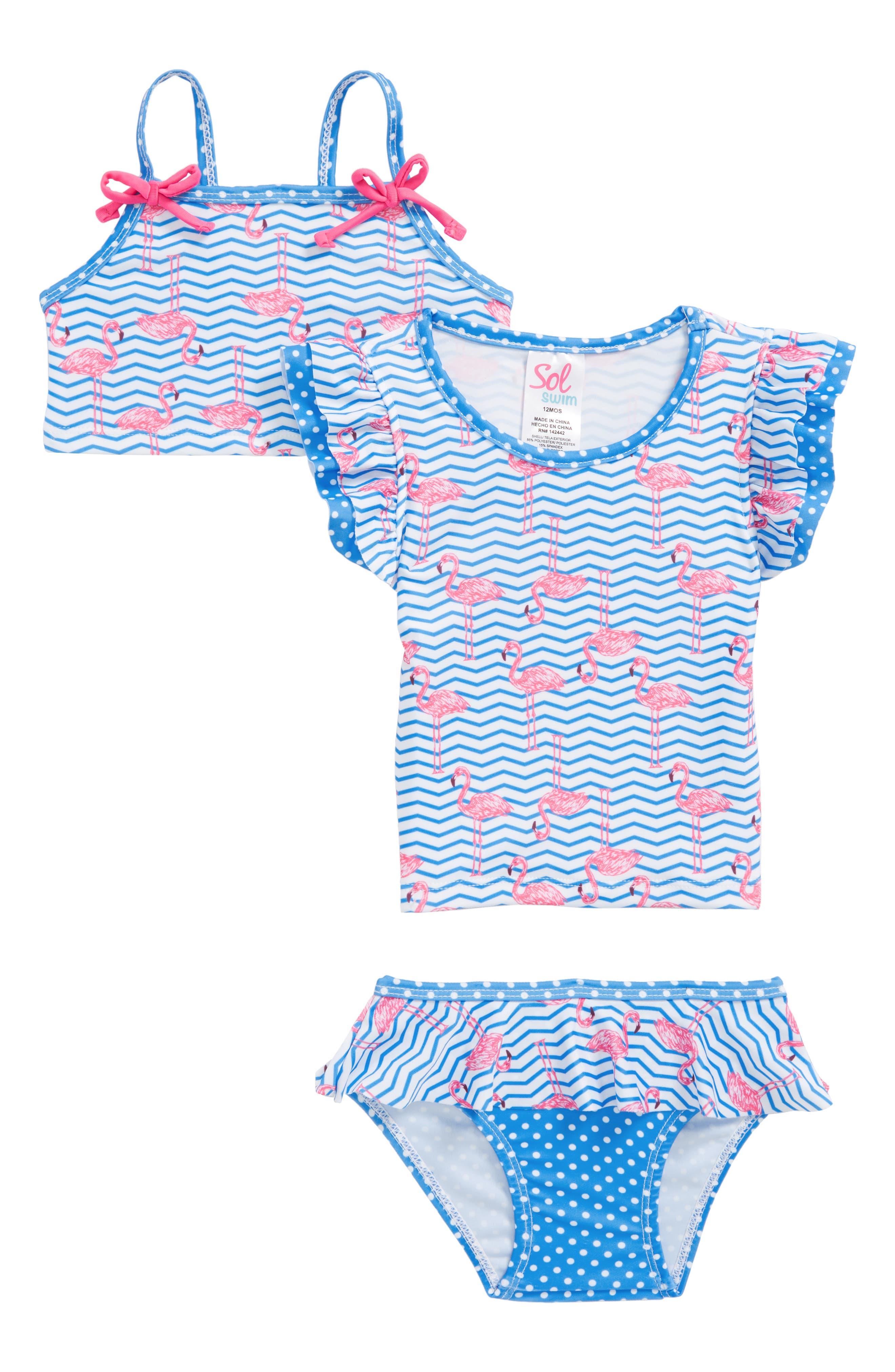 Sol Swim Zig Zag Flamingos 2-Piece Swimsuit with Rashguard (Baby Girls)