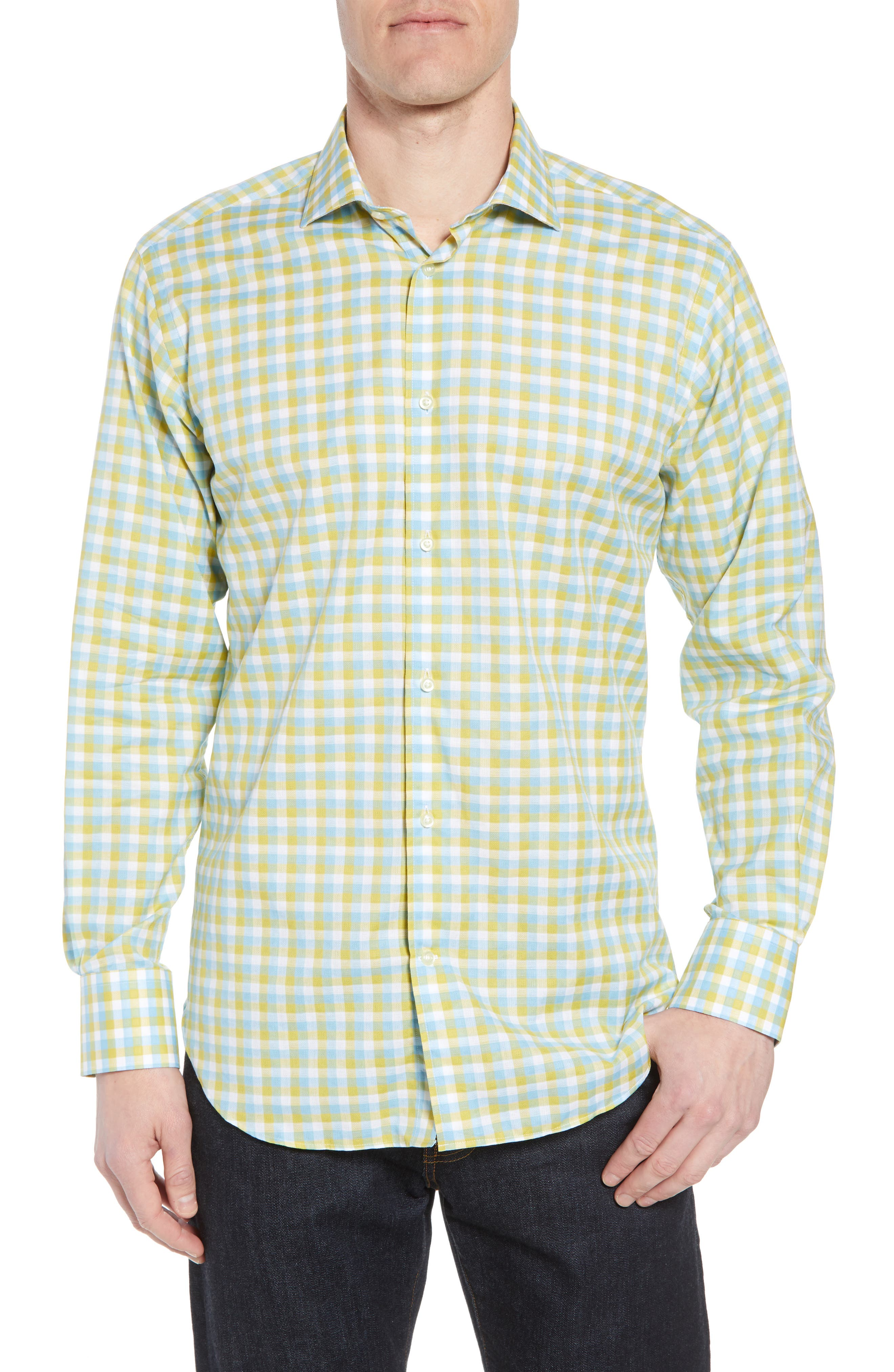 Regular Fit Check Sport Shirt,                             Main thumbnail 1, color,                             Yellow