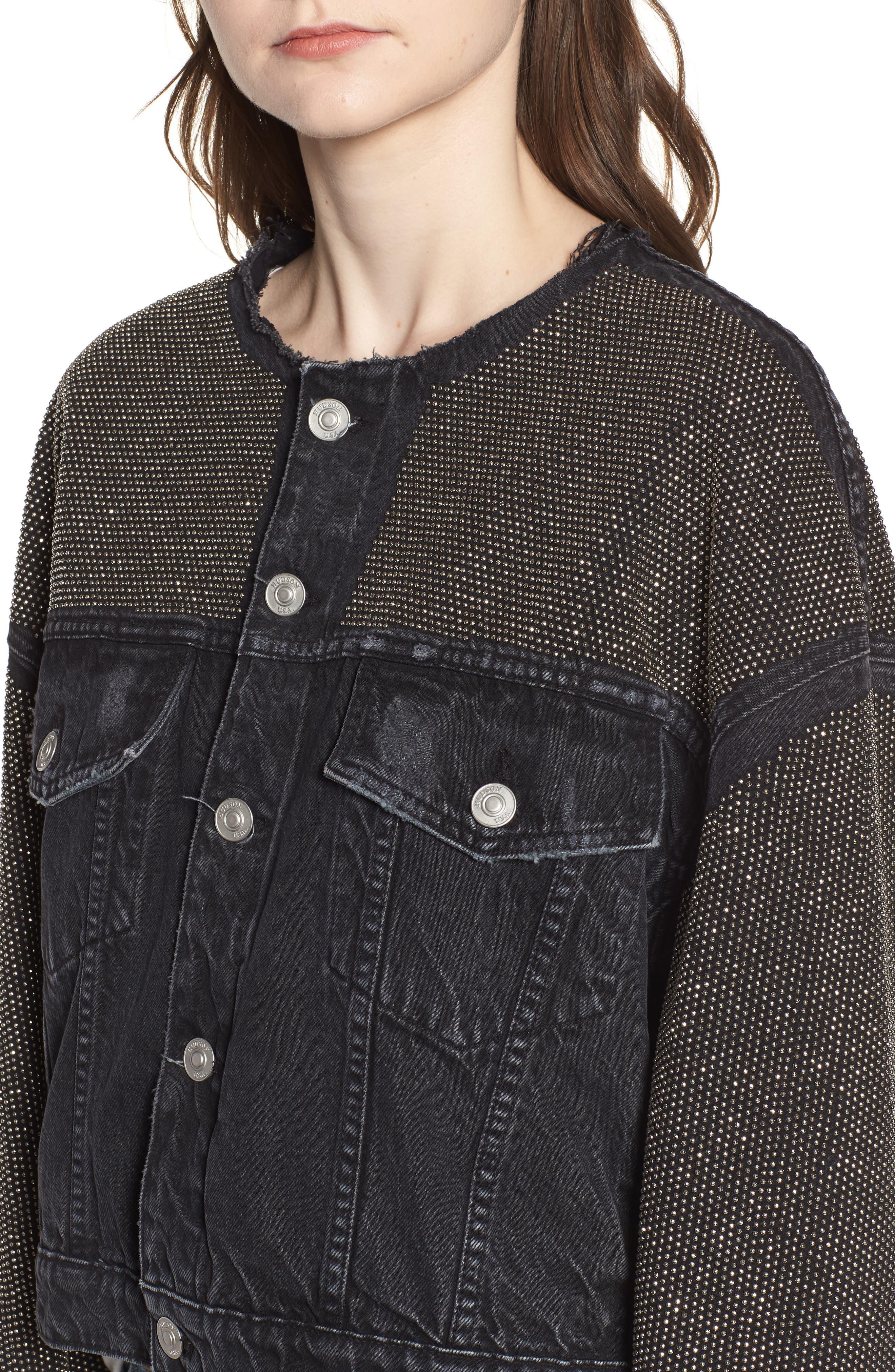 Rei Studded Crop Denim Jacket,                             Alternate thumbnail 4, color,                             Bullet Proof