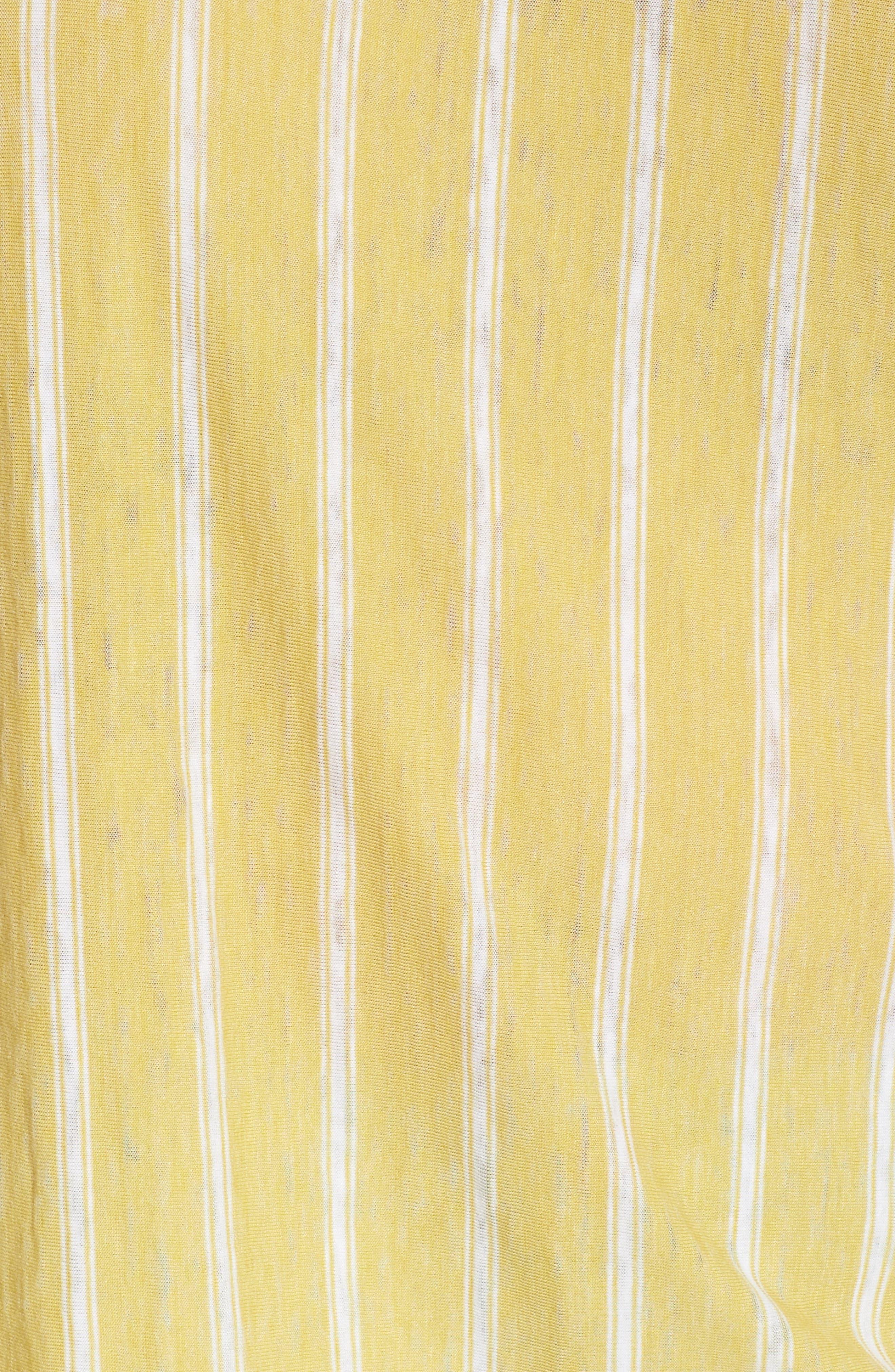 Ruffle Sleeve Mix Stripe Ruffle Tee,                             Alternate thumbnail 5, color,                             Yellow