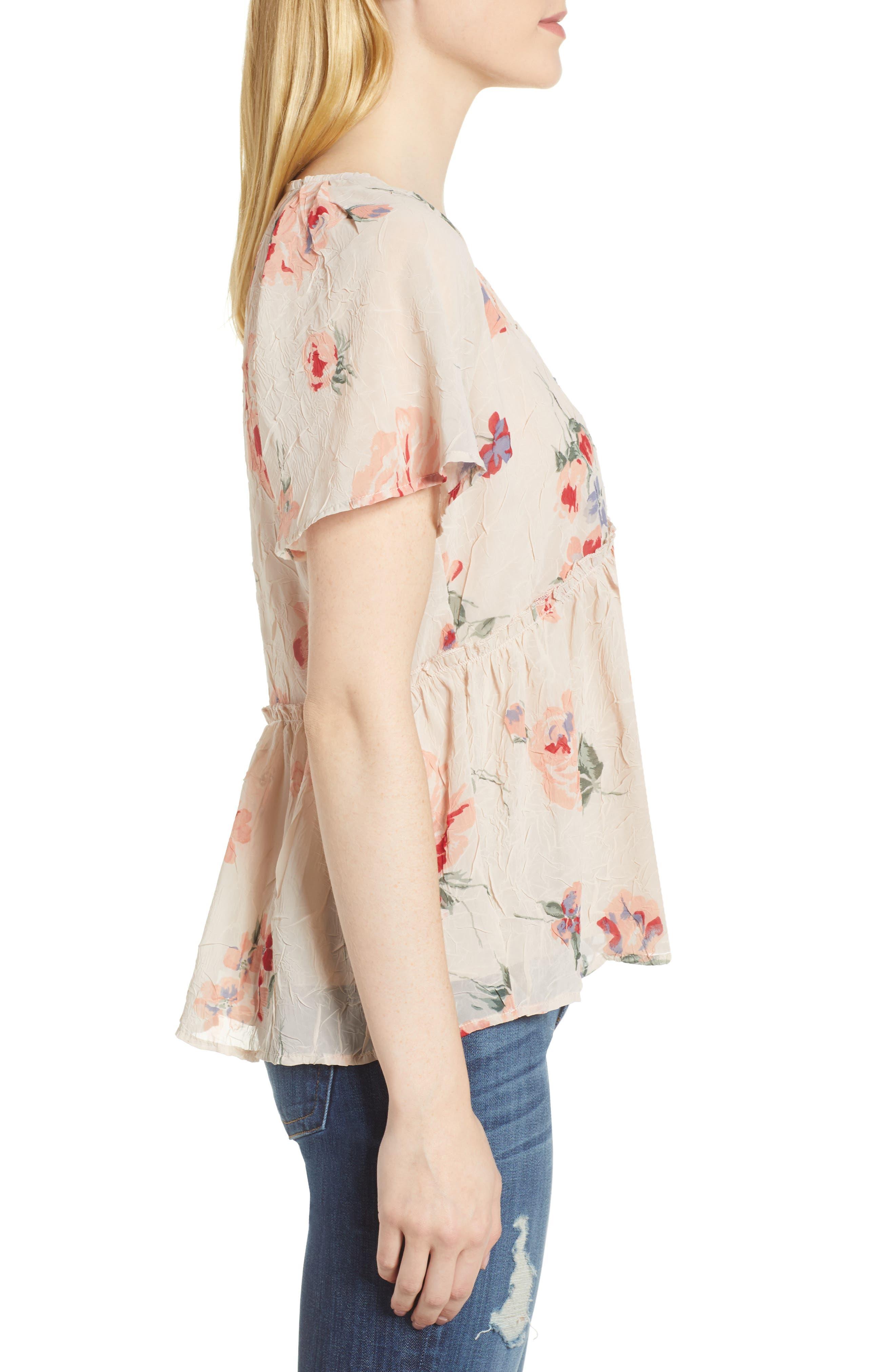 Floral Flutter Top,                             Alternate thumbnail 3, color,                             Pink Multi