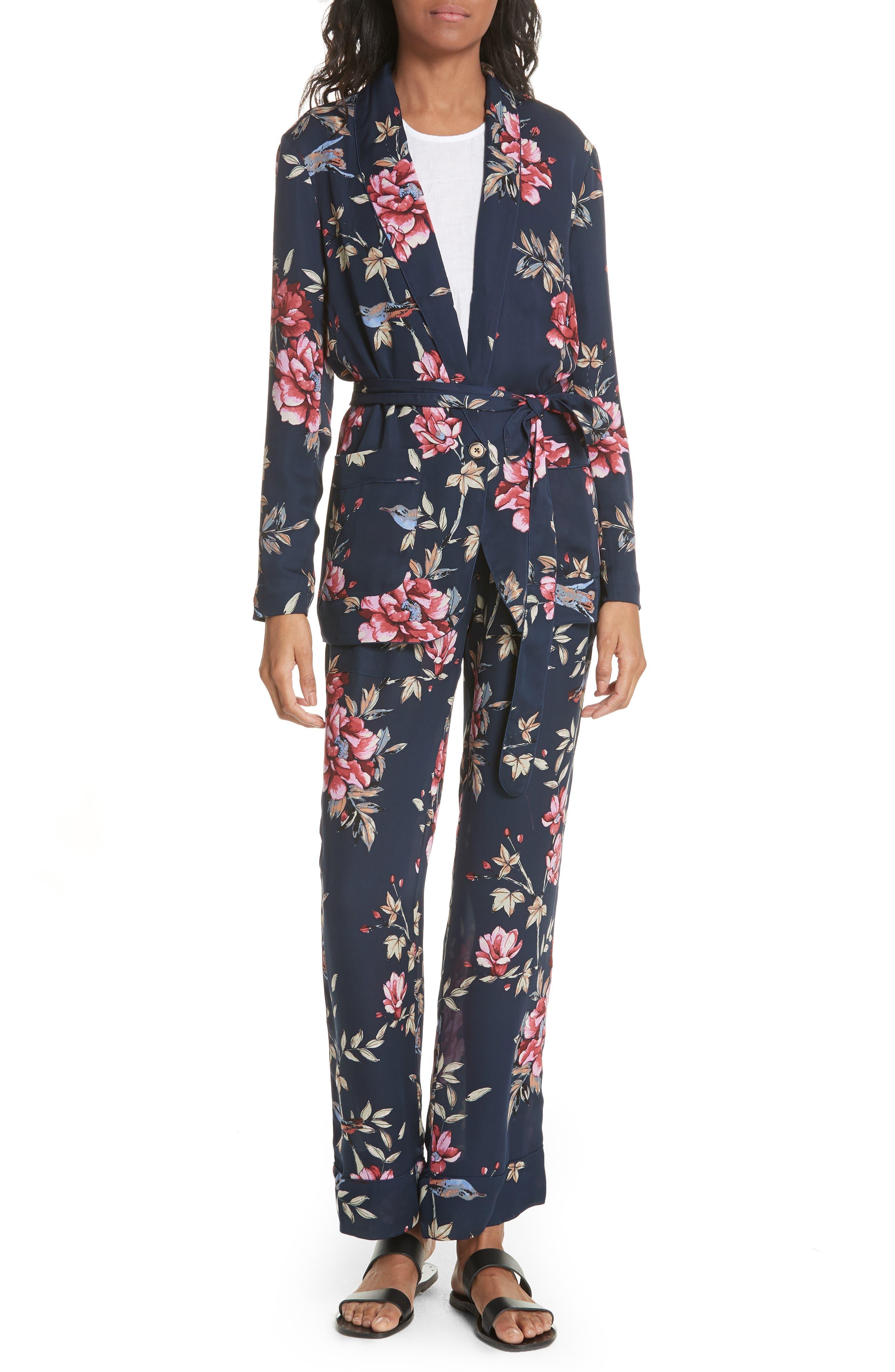 Daltona Floral Silk Pants,                             Alternate thumbnail 7, color,                             Dark Navy