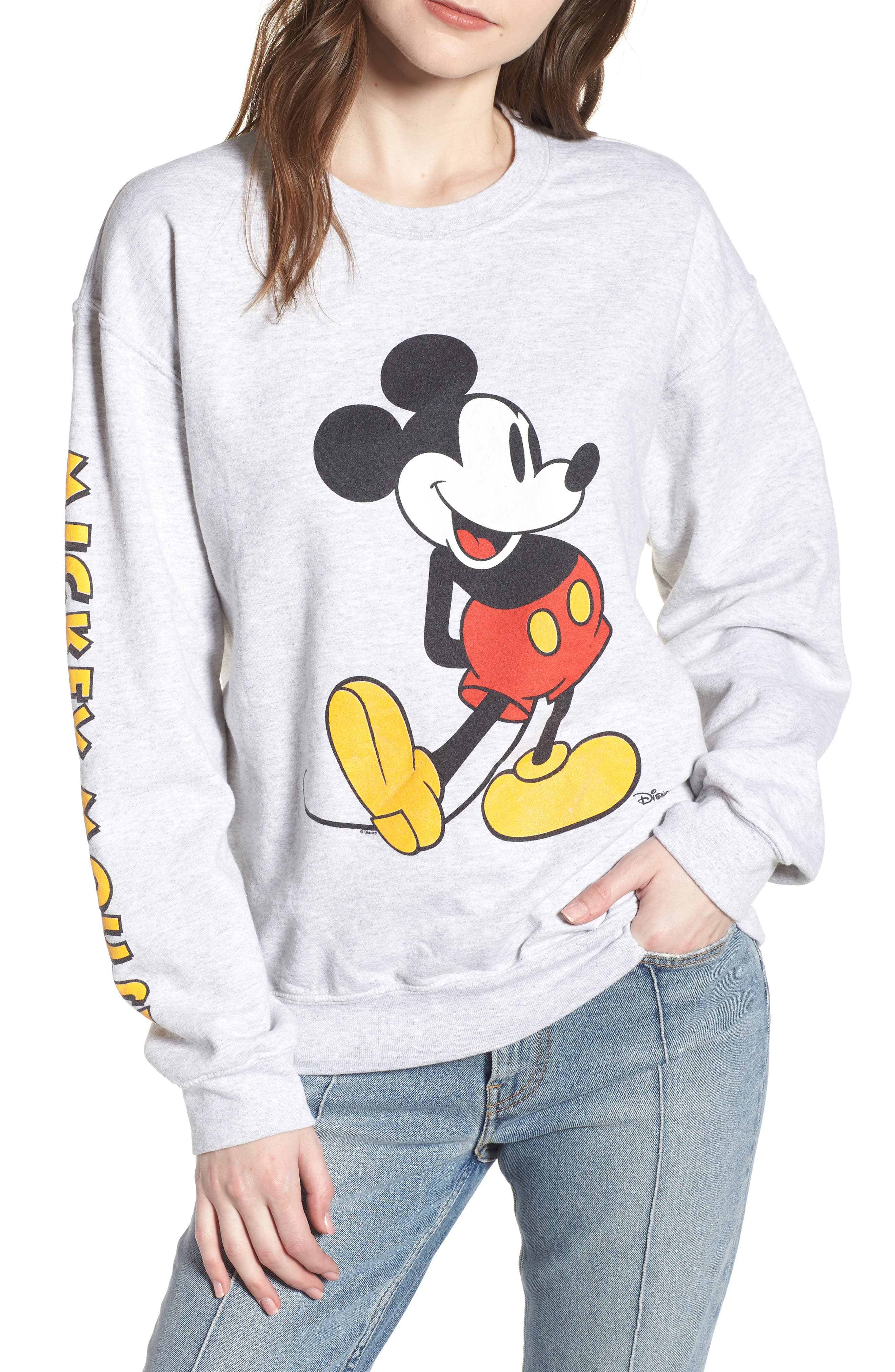 Mickey Mouse Oversize Sweatshirt,                         Main,                         color, Ash Heather