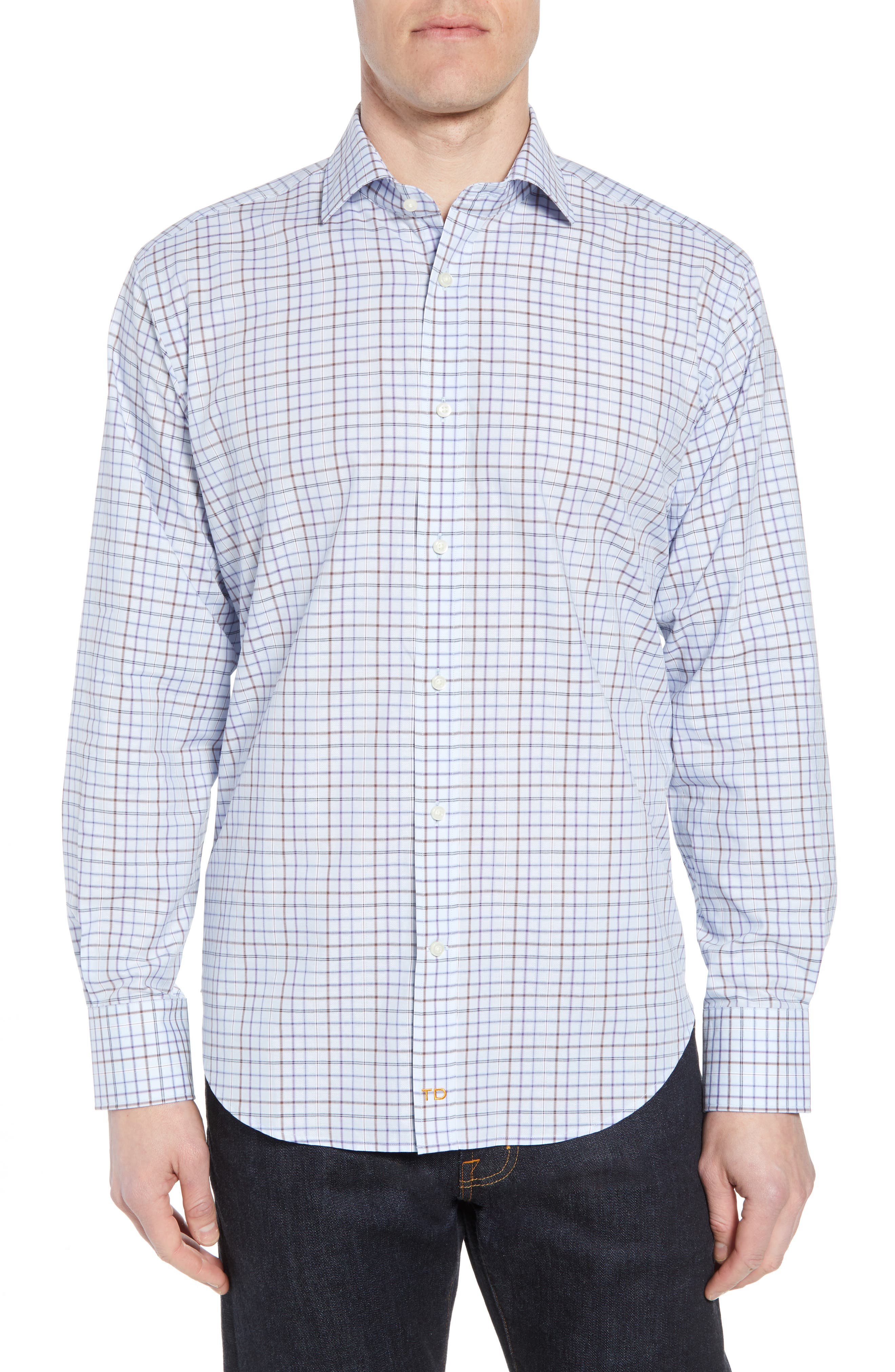 Regular Fit Windowpane Sport Shirt,                             Main thumbnail 1, color,                             Purple