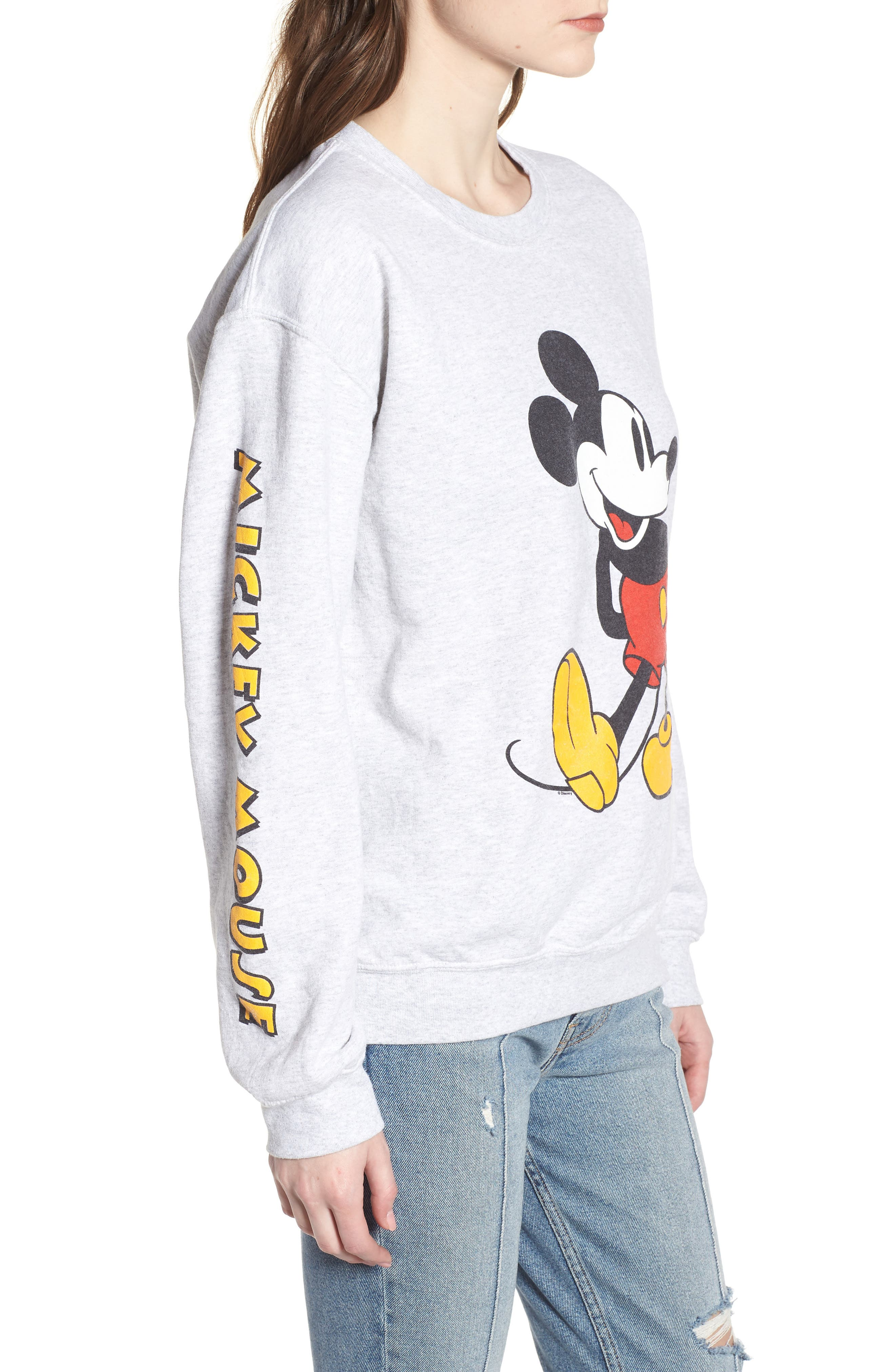 Mickey Mouse Oversize Sweatshirt,                             Alternate thumbnail 3, color,                             Ash Heather