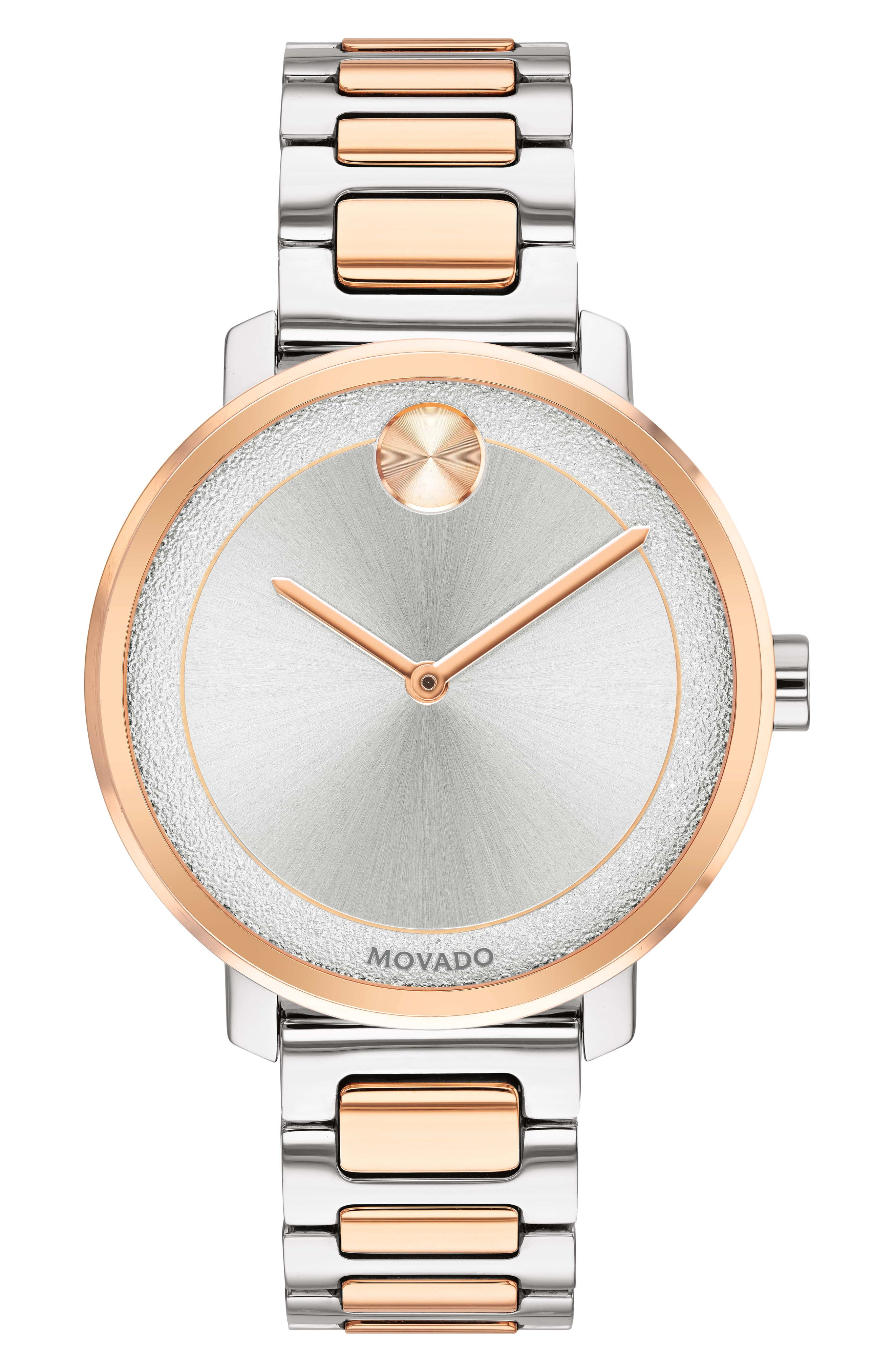 MOVADO 34Mm Bold Frosted Bracelet Watch, Silver/Rose in Silver/ Rose Gold