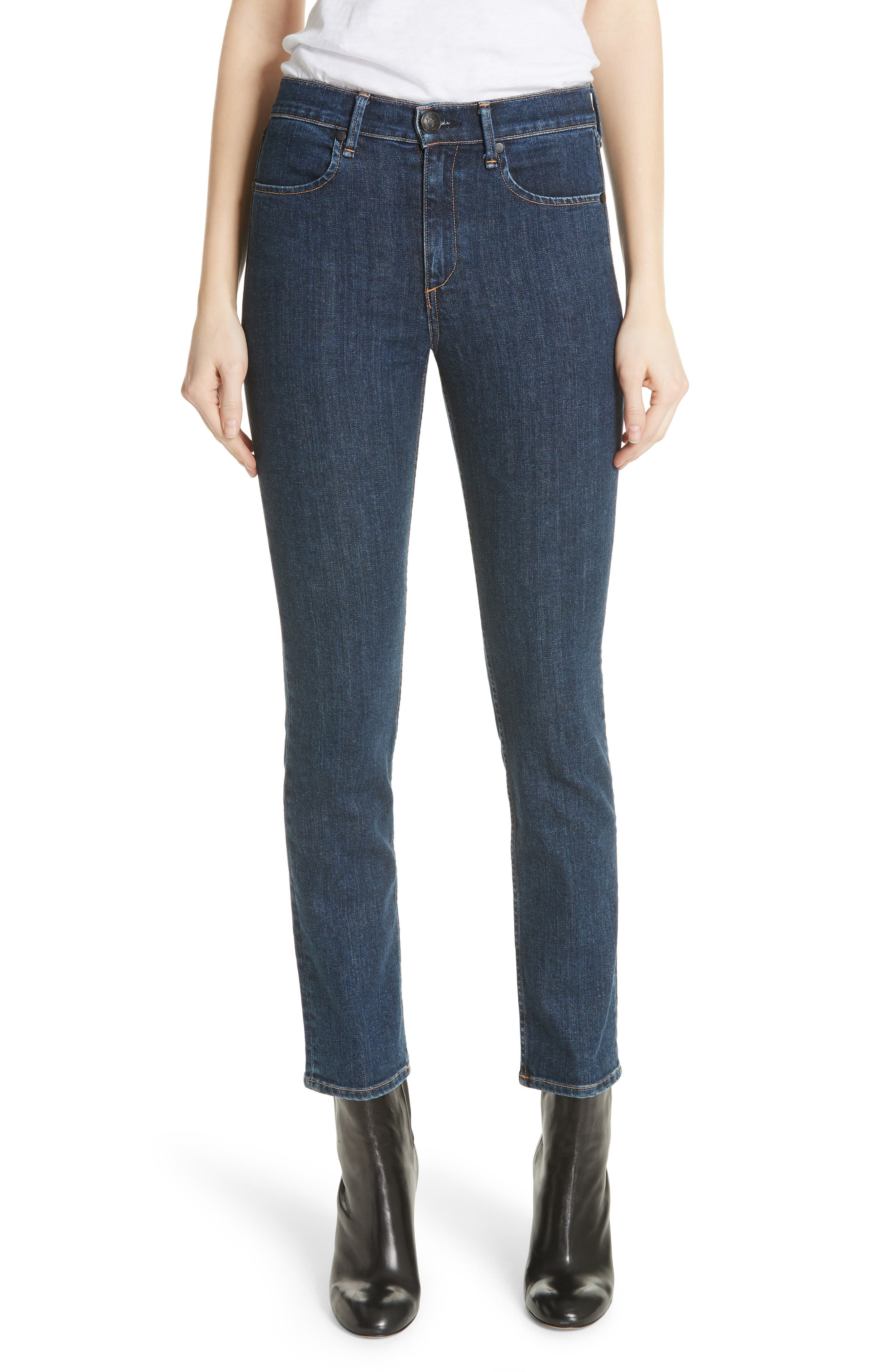rag & bone/JEAN Cigarette Leg Skinny Jeans (Indigo)