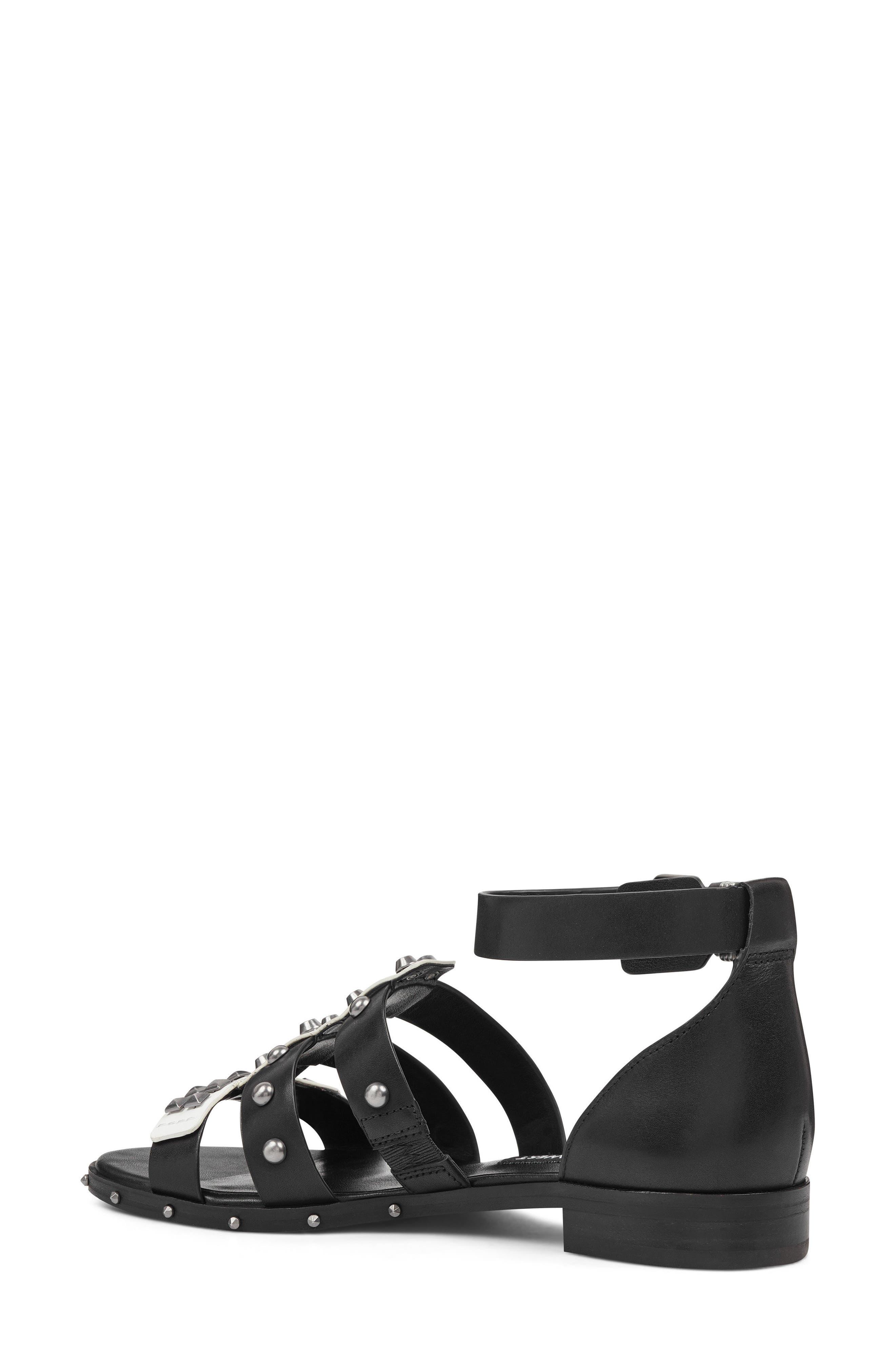 Corisande Sandal,                             Alternate thumbnail 2, color,                             White/ Black Leather