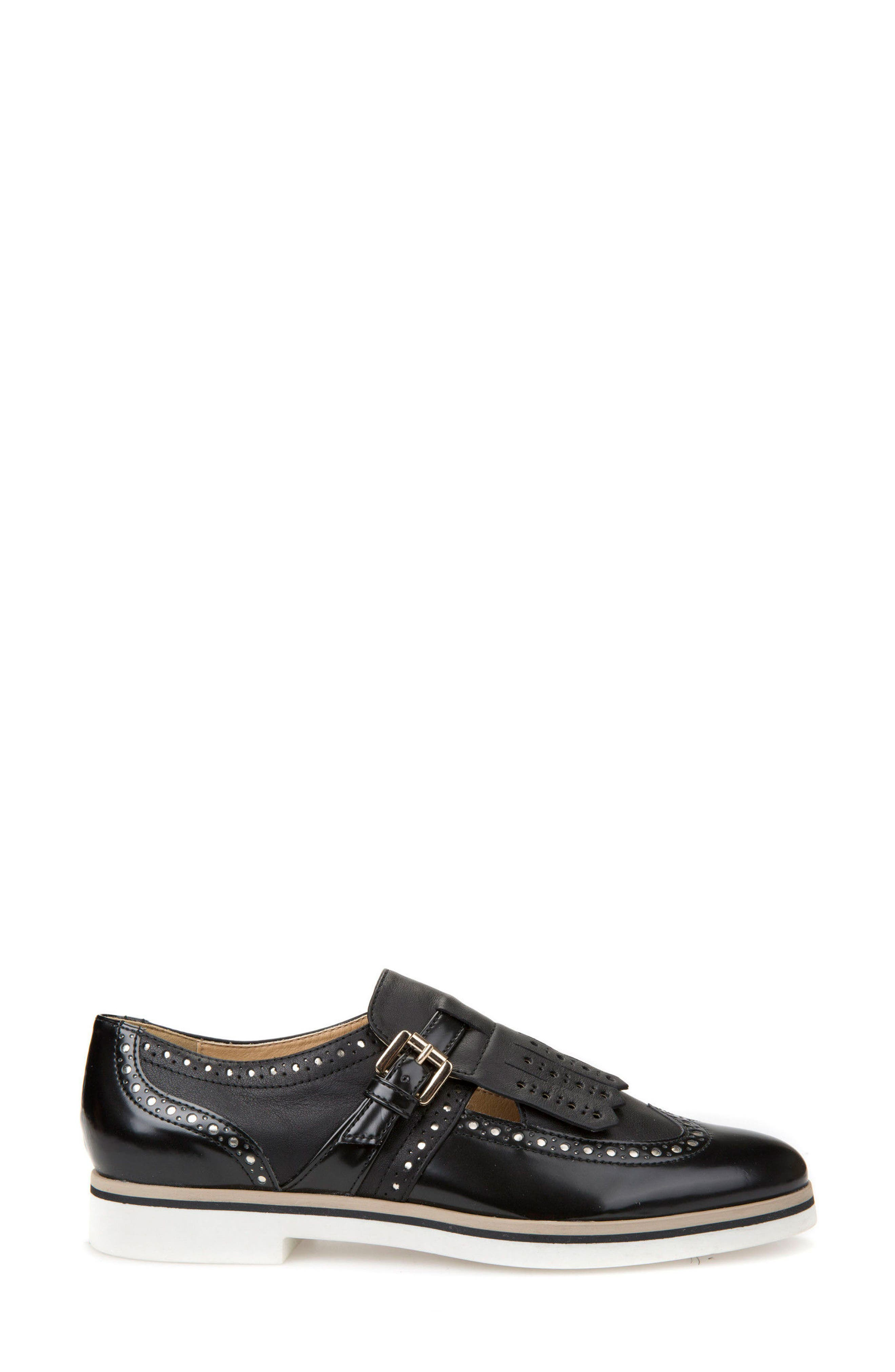 Janalee Cutout Loafer,                             Alternate thumbnail 3, color,                             Black Leather