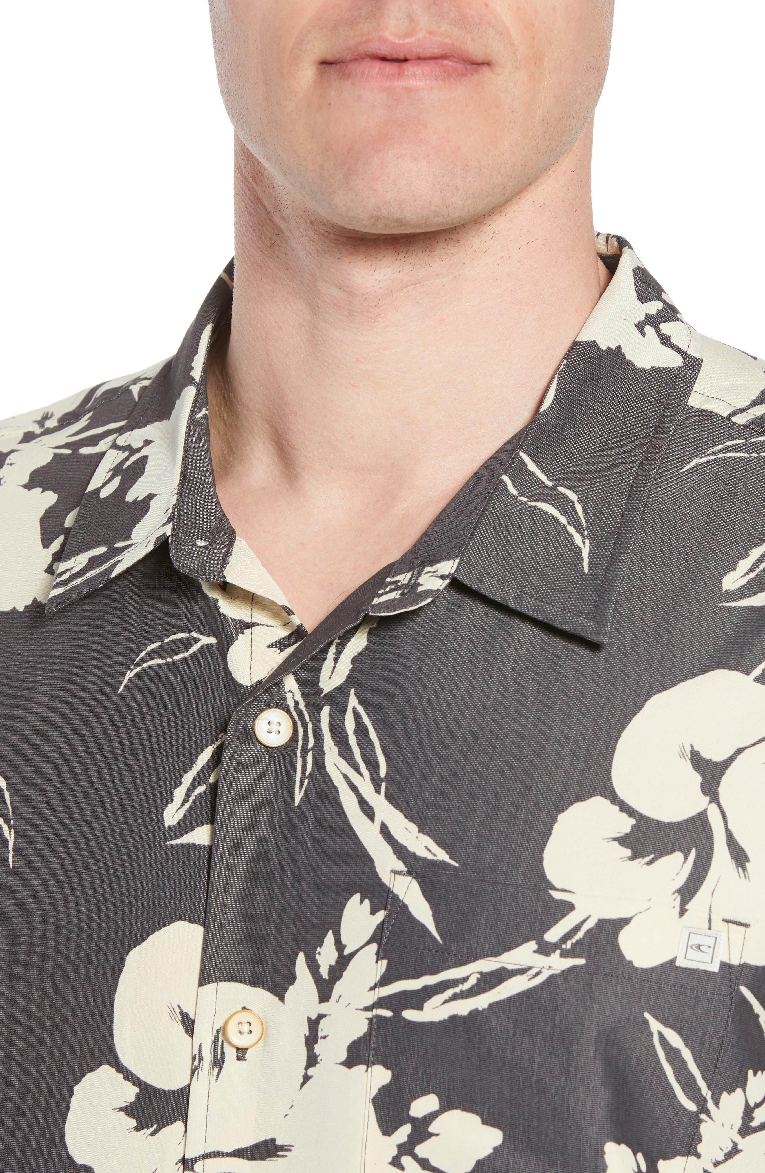 Aloha Print Sport Shirt,                             Alternate thumbnail 4, color,                             Dark Charcoal