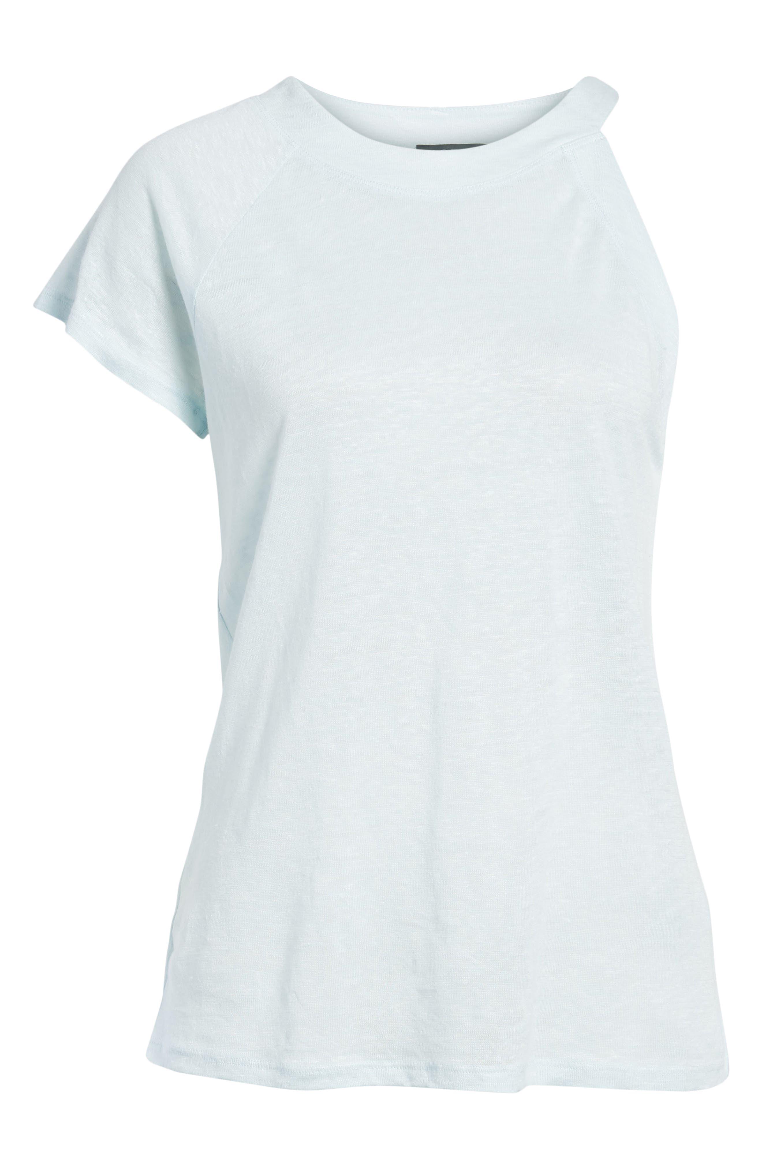 One-Sleeve Linen Tee,                             Alternate thumbnail 7, color,                             Harbor Light