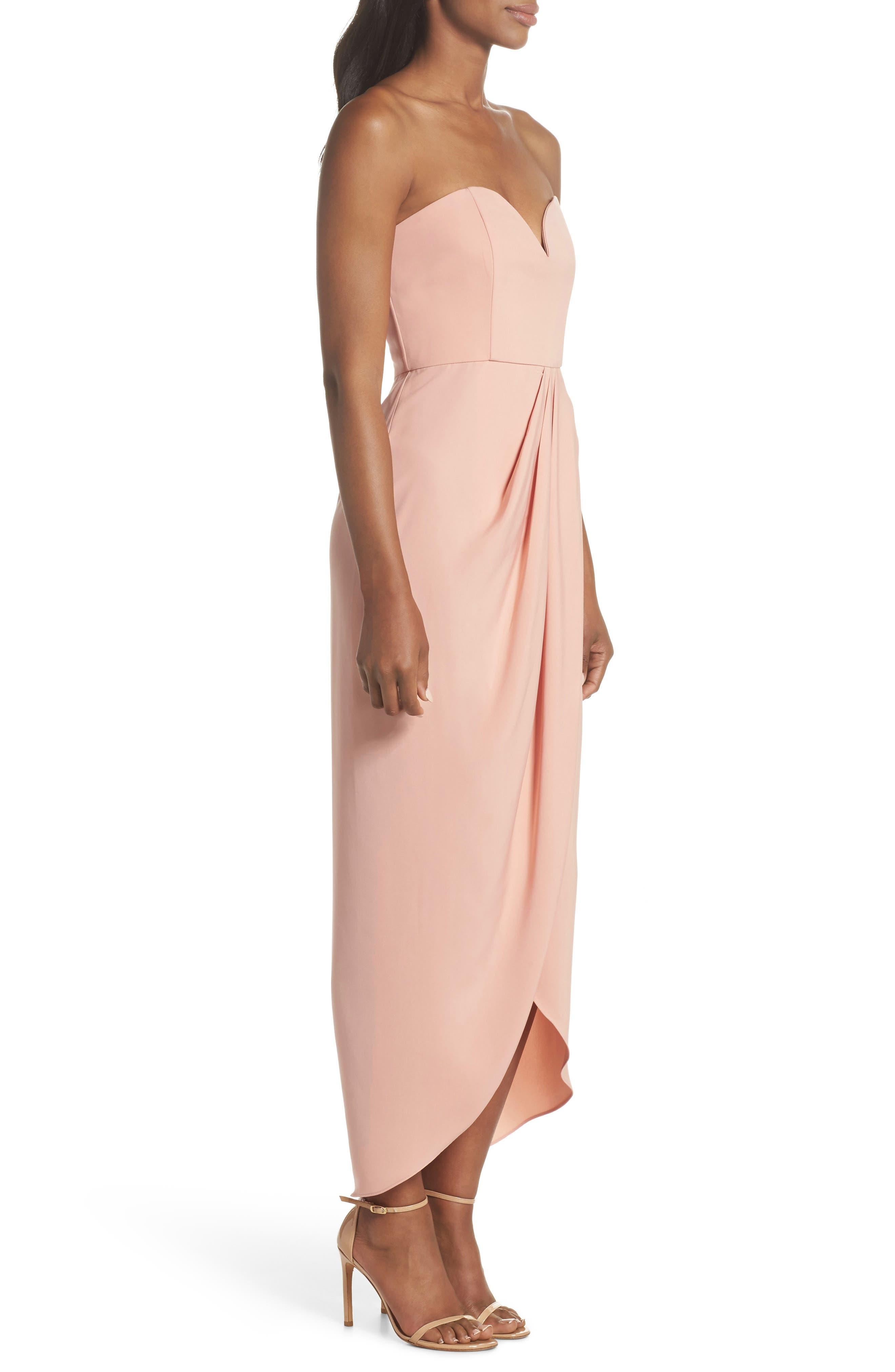 Underwire Bustier Tulip Hem Dress,                             Alternate thumbnail 3, color,                             Dusty Pink