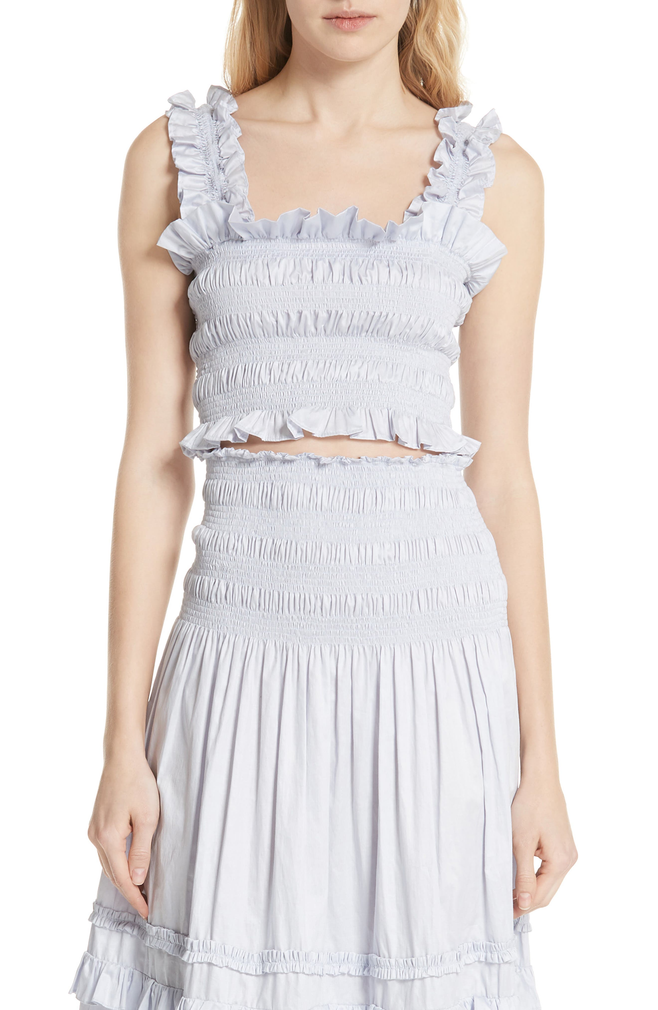 Alternate Image 1 Selected - Rebecca Taylor Smocked Sleeveless Cotton Top