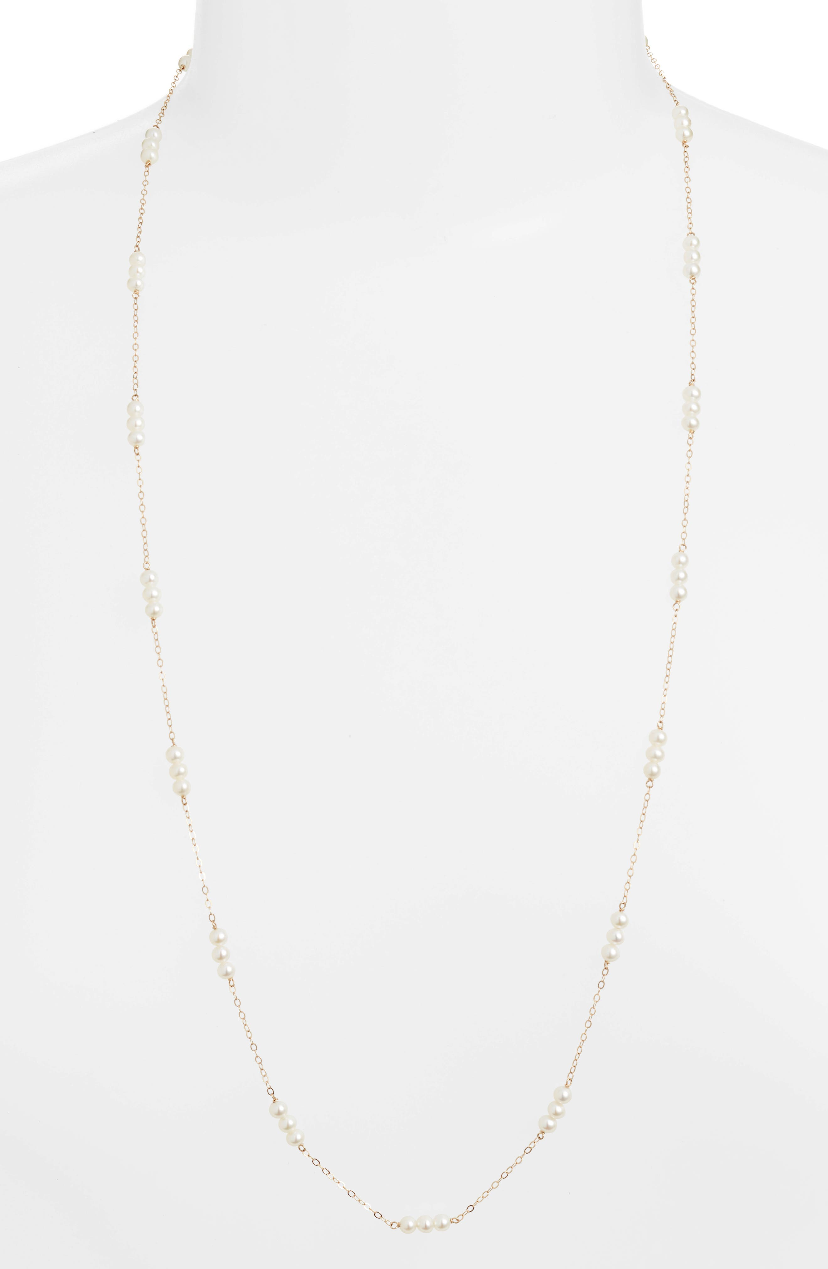 Pearl Triplet Necklace,                         Main,                         color, Yellow Gold/ White Pearl