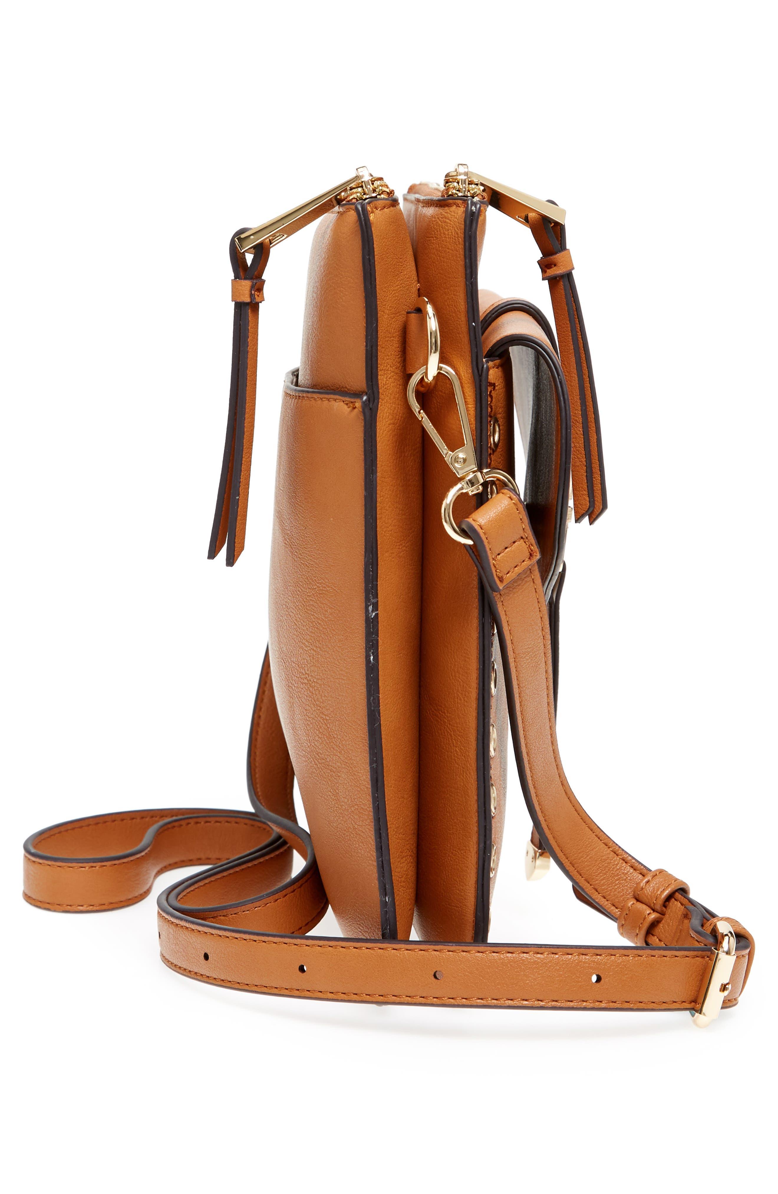 Front Pocket Faux Leather Crossbody Bag,                             Alternate thumbnail 5, color,                             Cognac