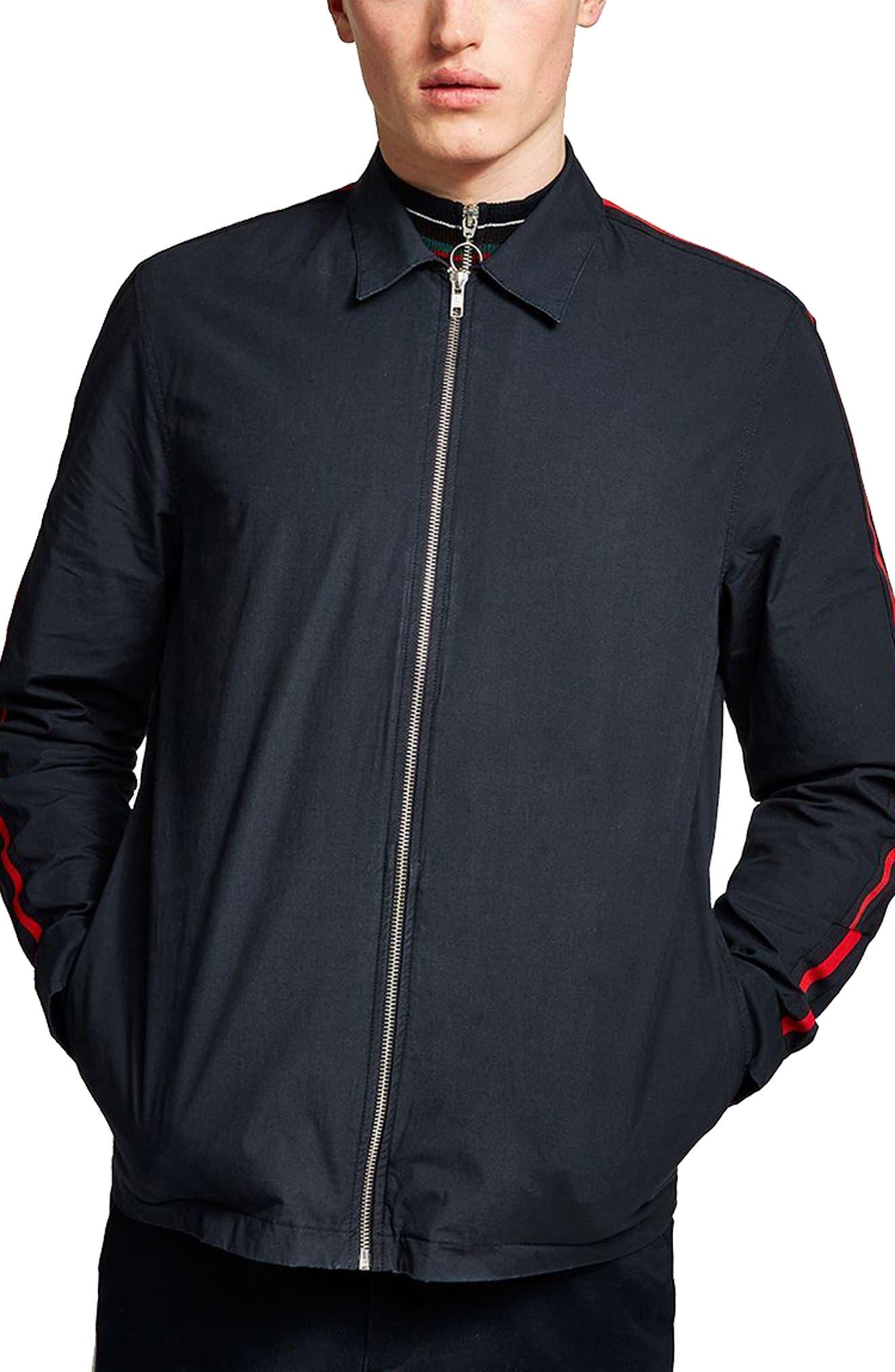 Stripe Sleeve Shirt Jacket,                             Main thumbnail 1, color,                             Navy Blue
