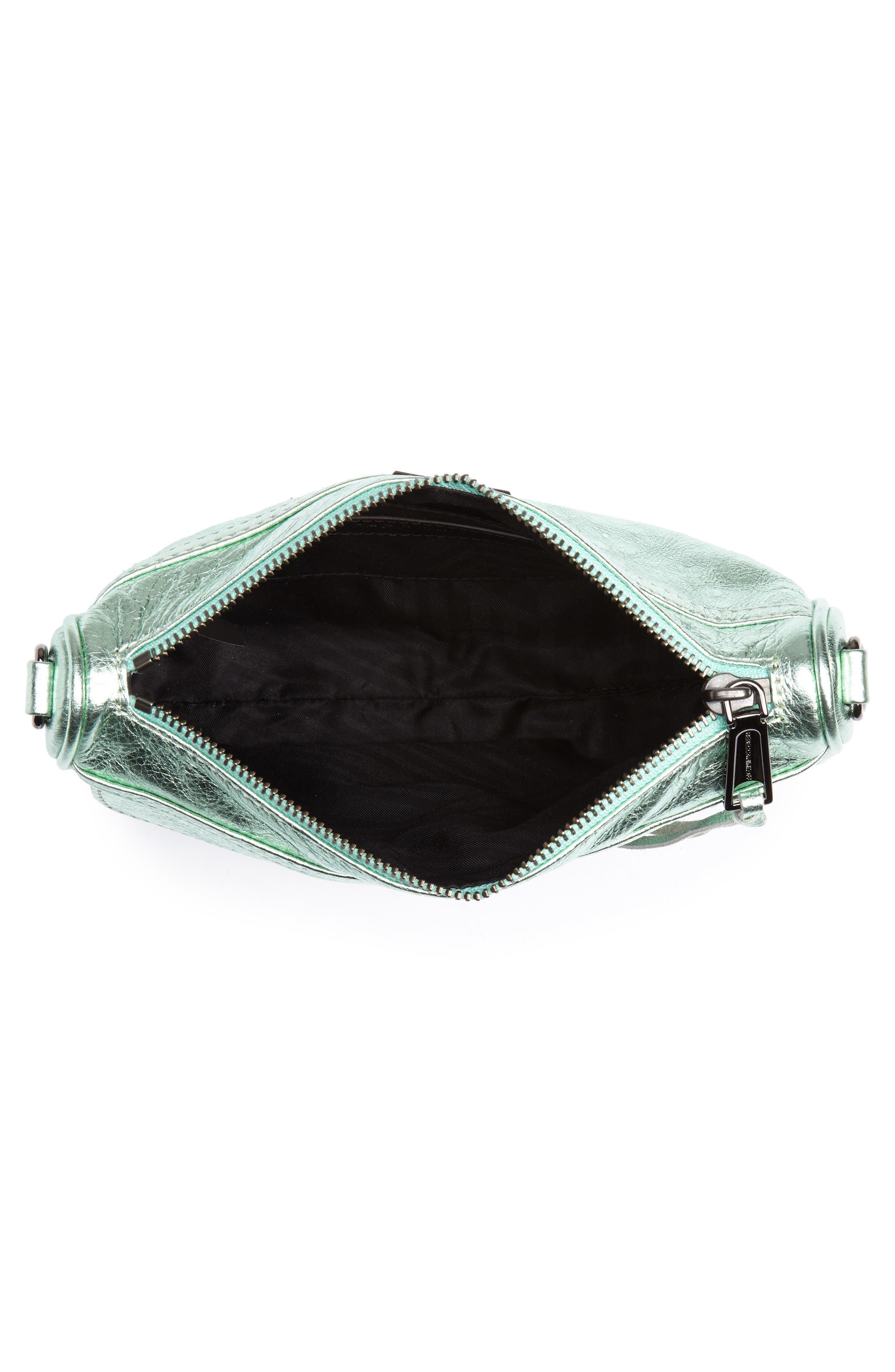 Mini MAC Metallic Leather Convertible Crossbody Bag,                             Alternate thumbnail 4, color,                             Mint