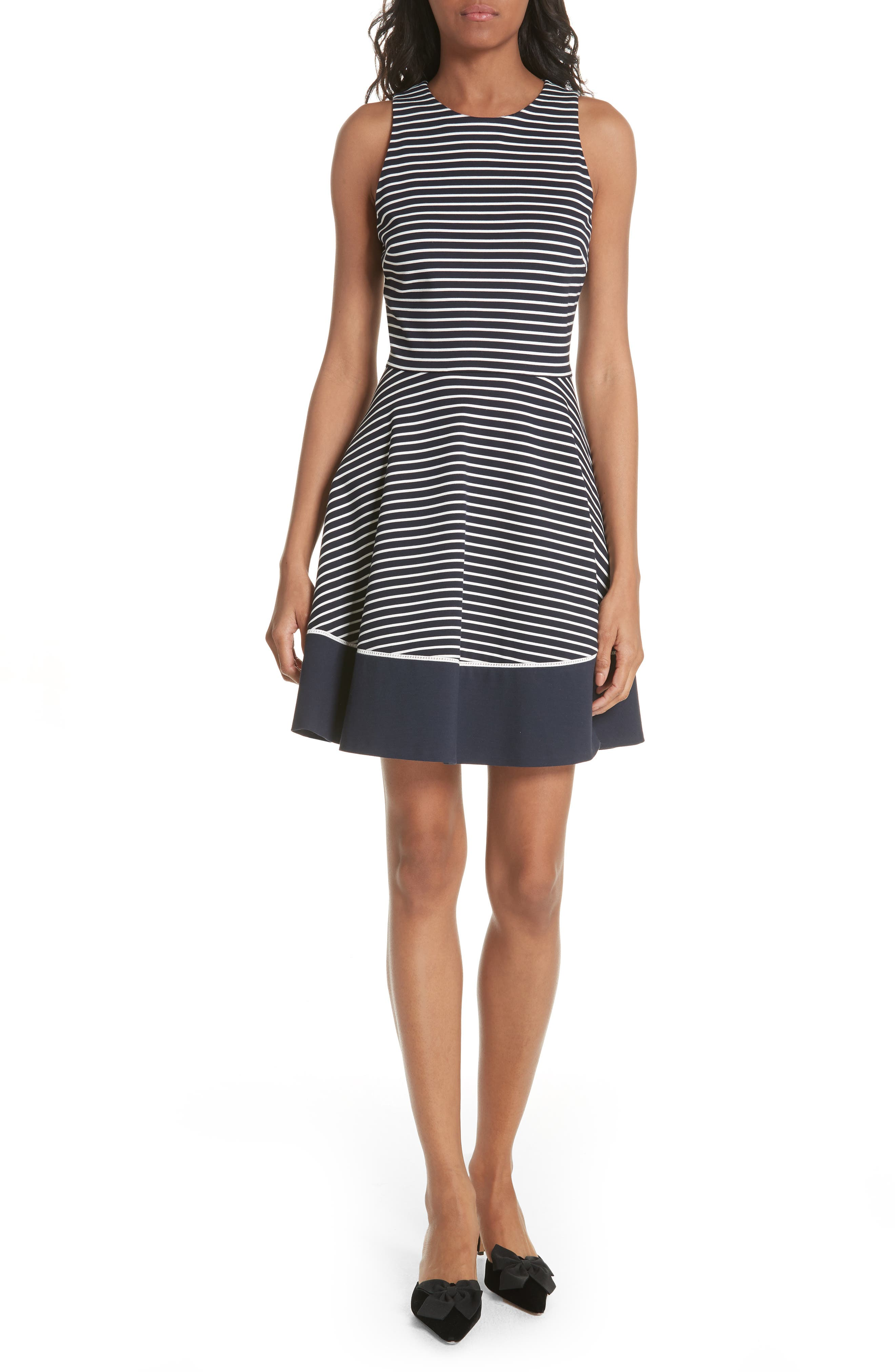 stripe ponte fit & flare dress,                             Main thumbnail 1, color,                             Rich Navy/ Off White