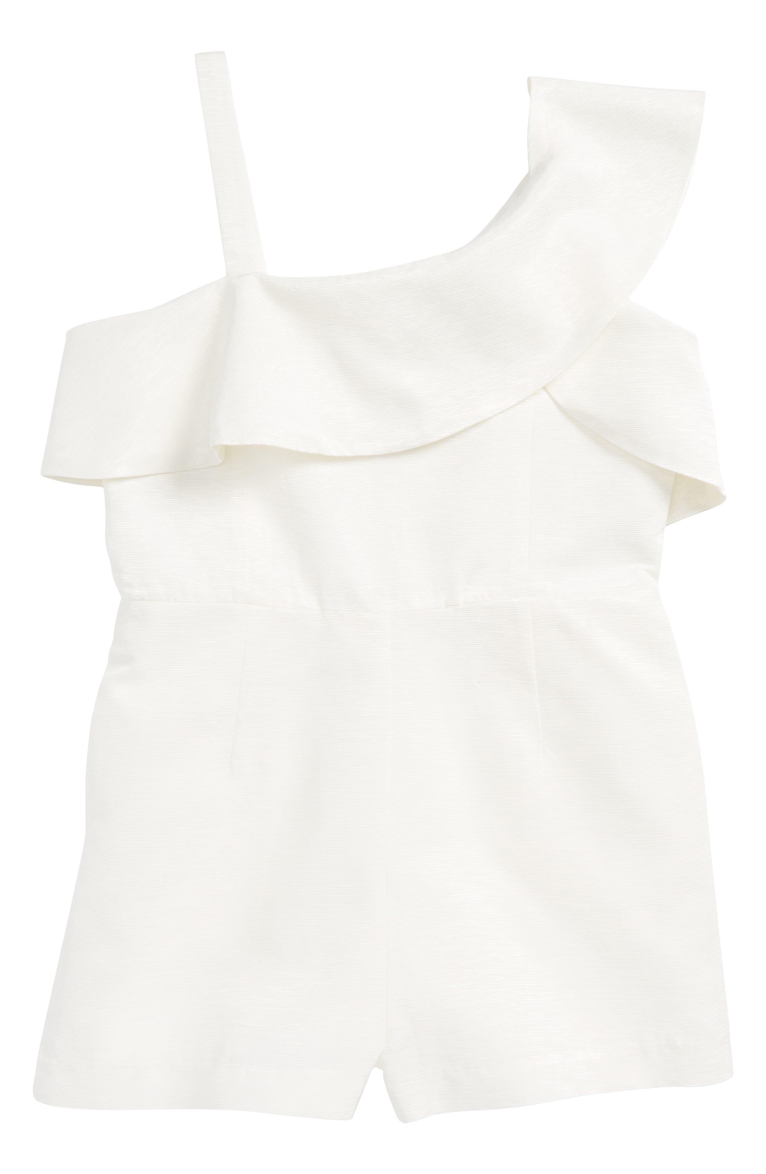 Ruffle One-Shoulder Playsuit,                         Main,                         color, Ivory